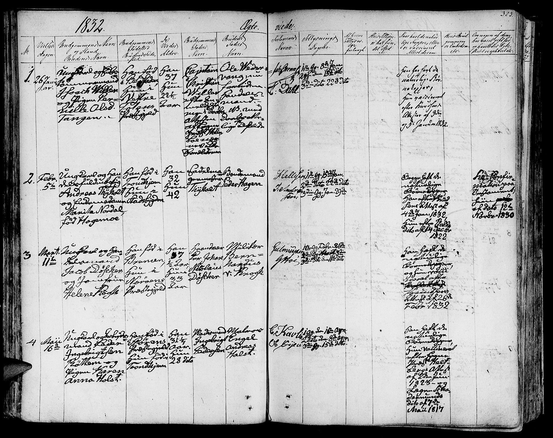 SAT, Ministerialprotokoller, klokkerbøker og fødselsregistre - Sør-Trøndelag, 602/L0109: Ministerialbok nr. 602A07, 1821-1840, s. 323