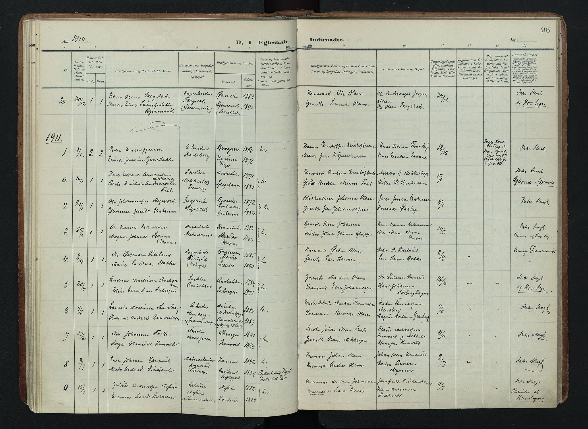 SAH, Søndre Land prestekontor, K/L0005: Ministerialbok nr. 5, 1905-1914, s. 96