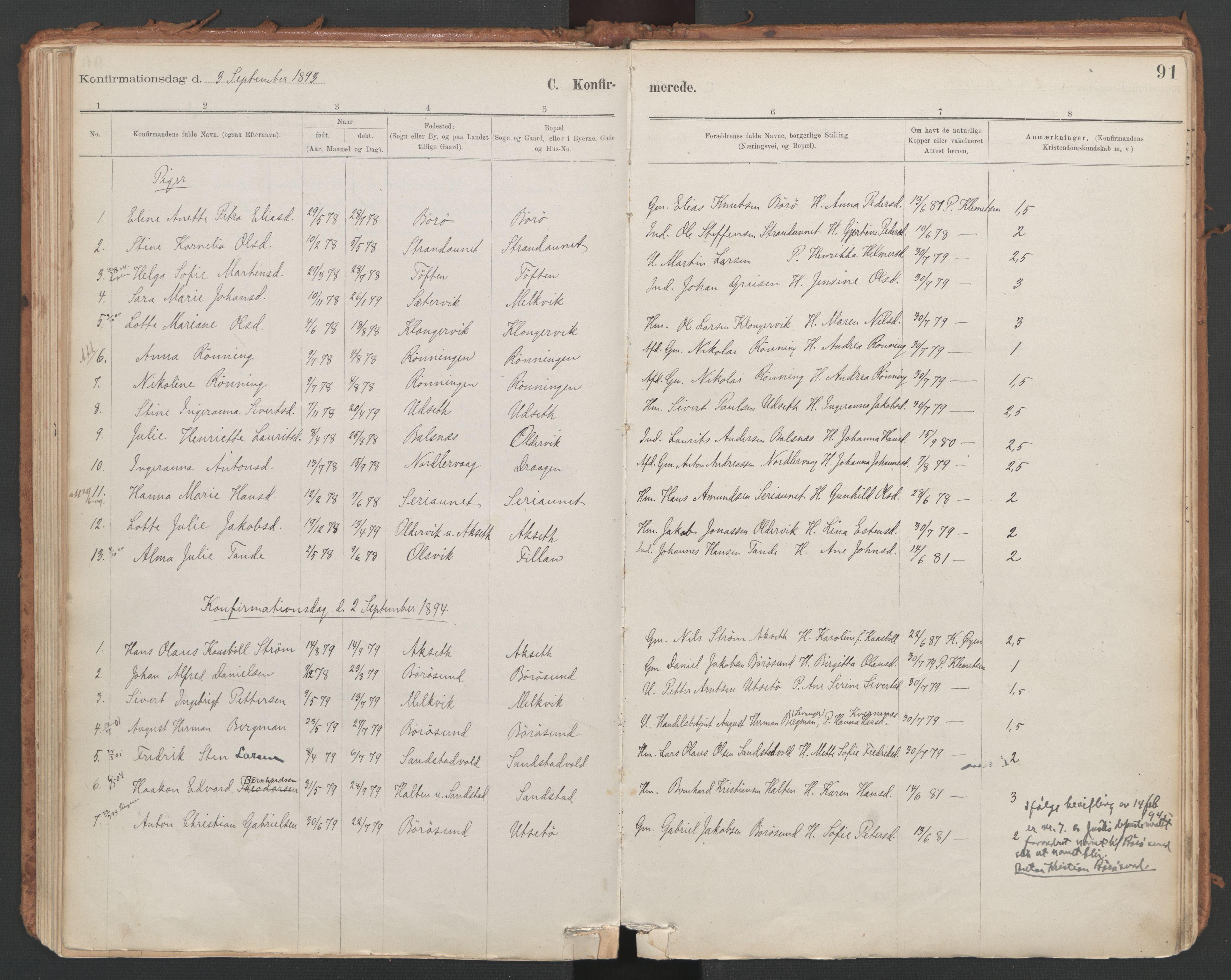 SAT, Ministerialprotokoller, klokkerbøker og fødselsregistre - Sør-Trøndelag, 639/L0572: Ministerialbok nr. 639A01, 1890-1920, s. 91