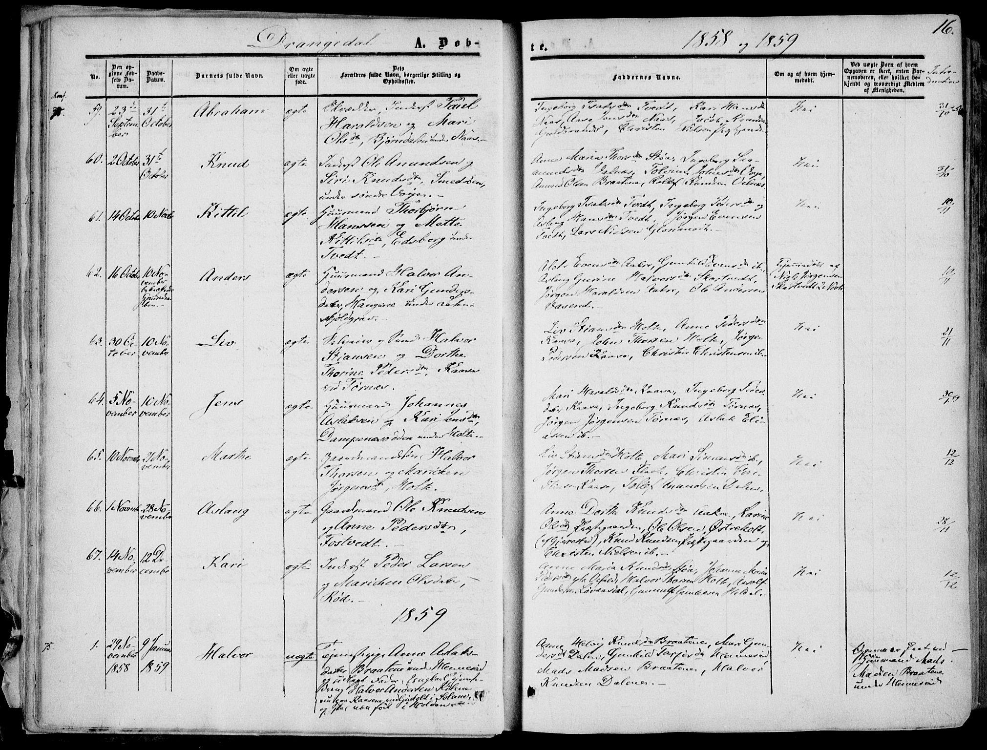 SAKO, Drangedal kirkebøker, F/Fa/L0008: Ministerialbok nr. 8, 1857-1871, s. 16