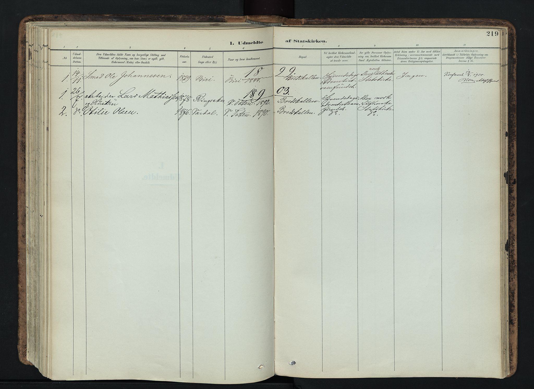 SAH, Vardal prestekontor, H/Ha/Haa/L0019: Ministerialbok nr. 19, 1893-1907, s. 219