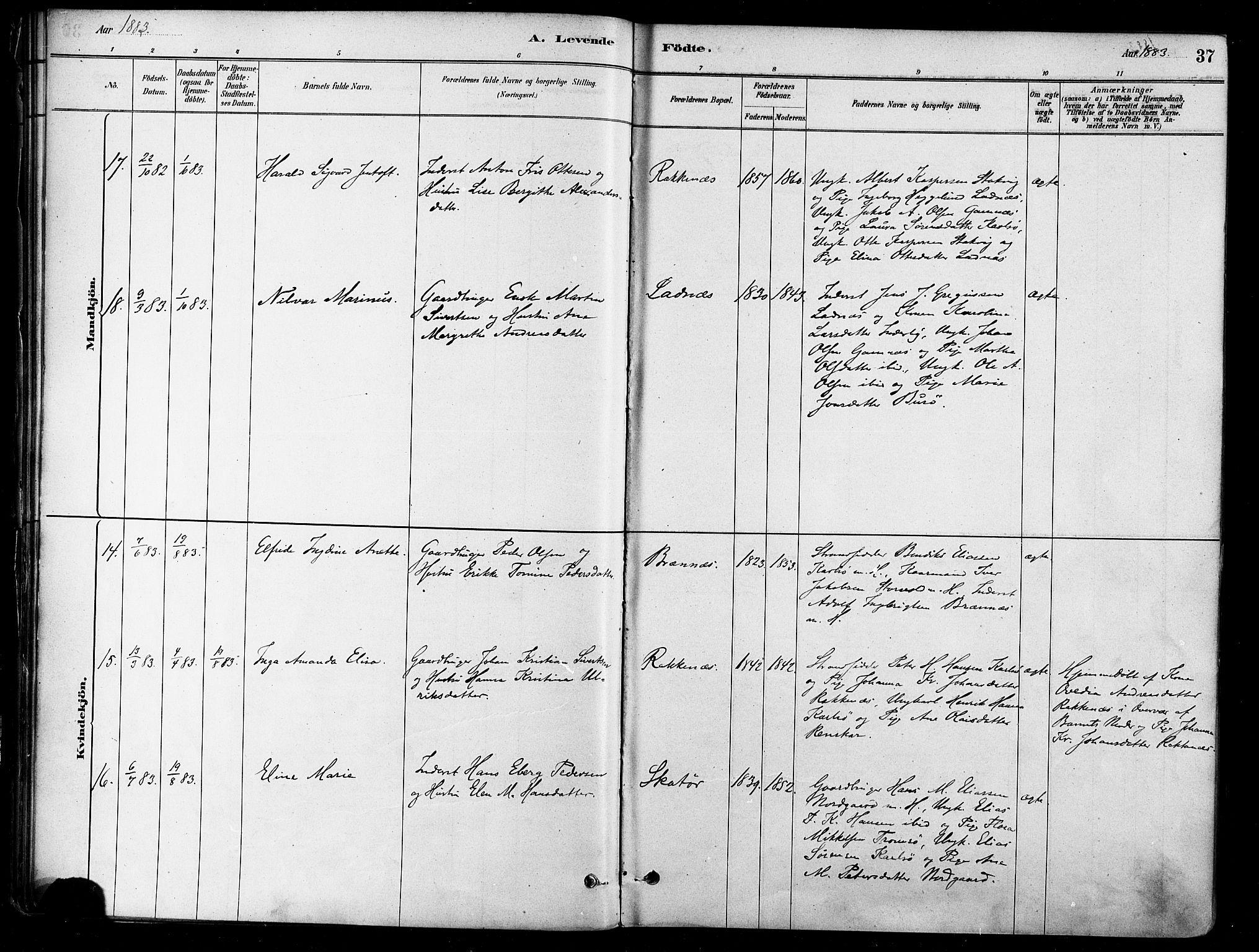 SATØ, Karlsøy sokneprestembete, H/Ha/Haa/L0006kirke: Ministerialbok nr. 6, 1879-1890, s. 37