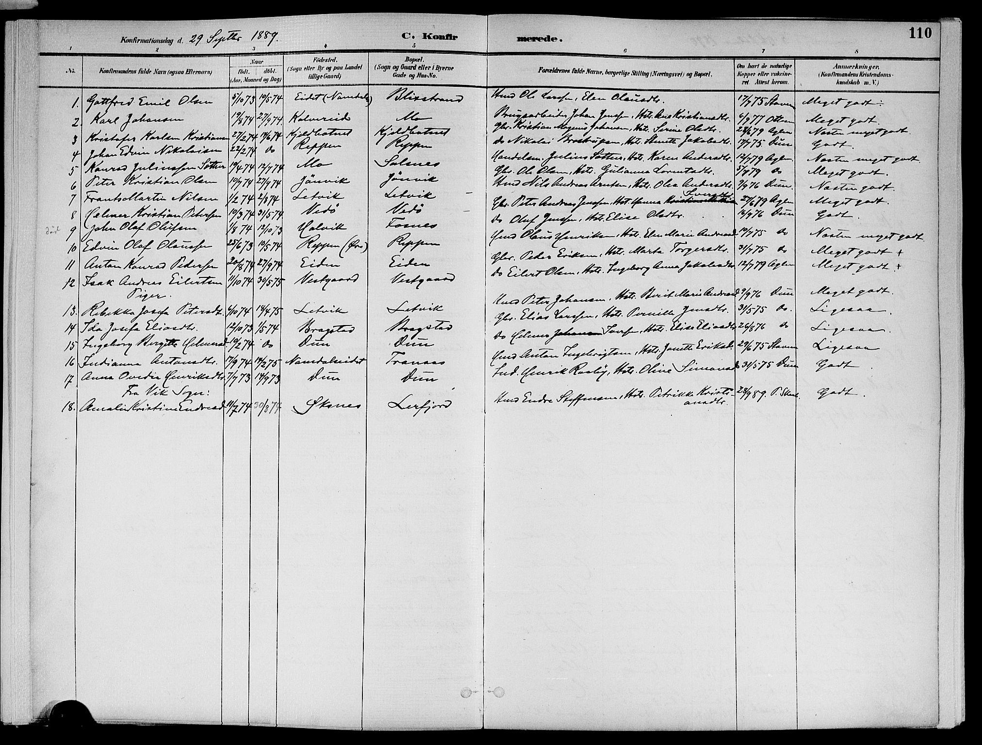 SAT, Ministerialprotokoller, klokkerbøker og fødselsregistre - Nord-Trøndelag, 773/L0617: Ministerialbok nr. 773A08, 1887-1910, s. 110