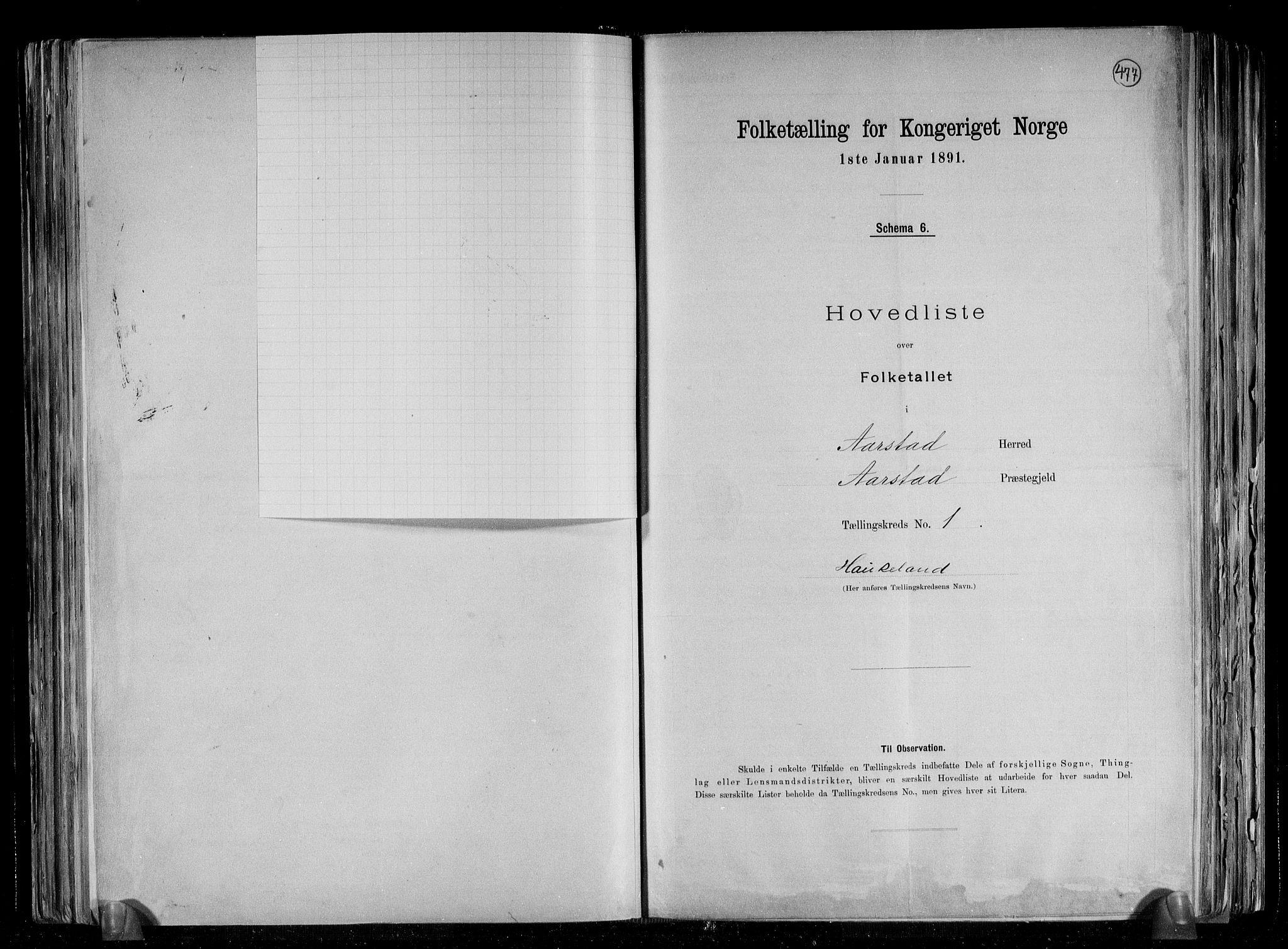SAB, Folketelling 1891 for 1280 Årstad herred, 1891, s. 5