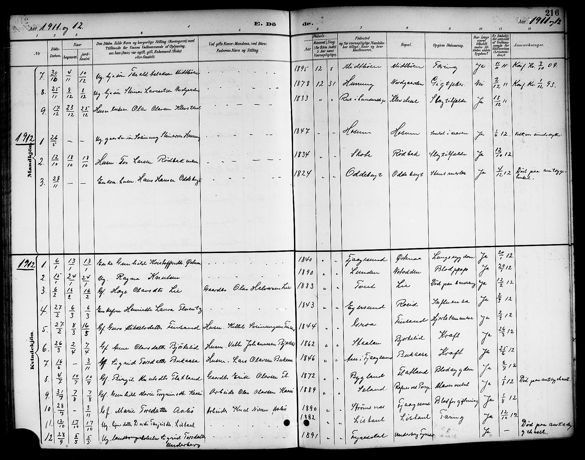 SAKO, Kviteseid kirkebøker, G/Ga/L0002: Klokkerbok nr. I 2, 1893-1918, s. 216