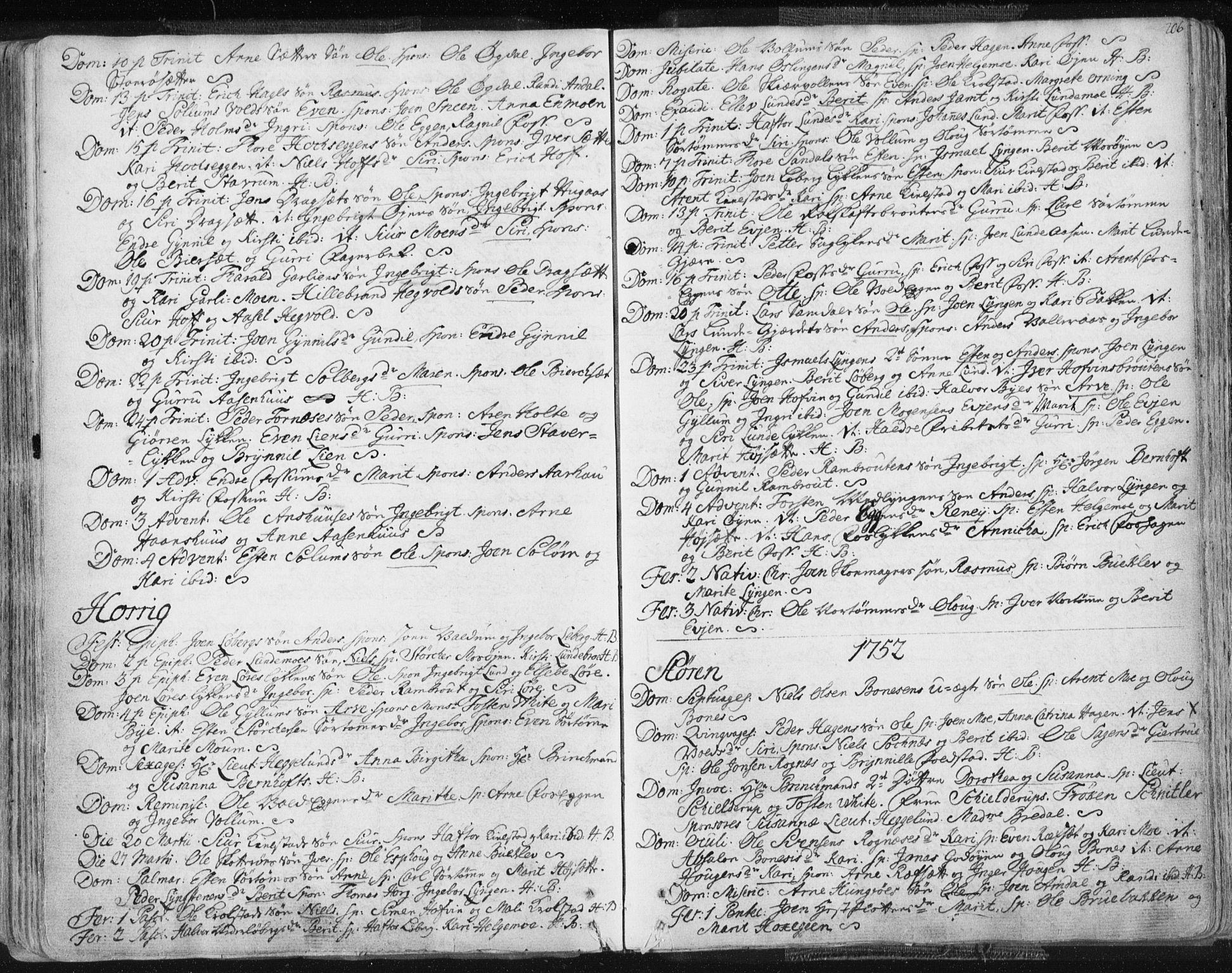 SAT, Ministerialprotokoller, klokkerbøker og fødselsregistre - Sør-Trøndelag, 687/L0991: Ministerialbok nr. 687A02, 1747-1790, s. 206