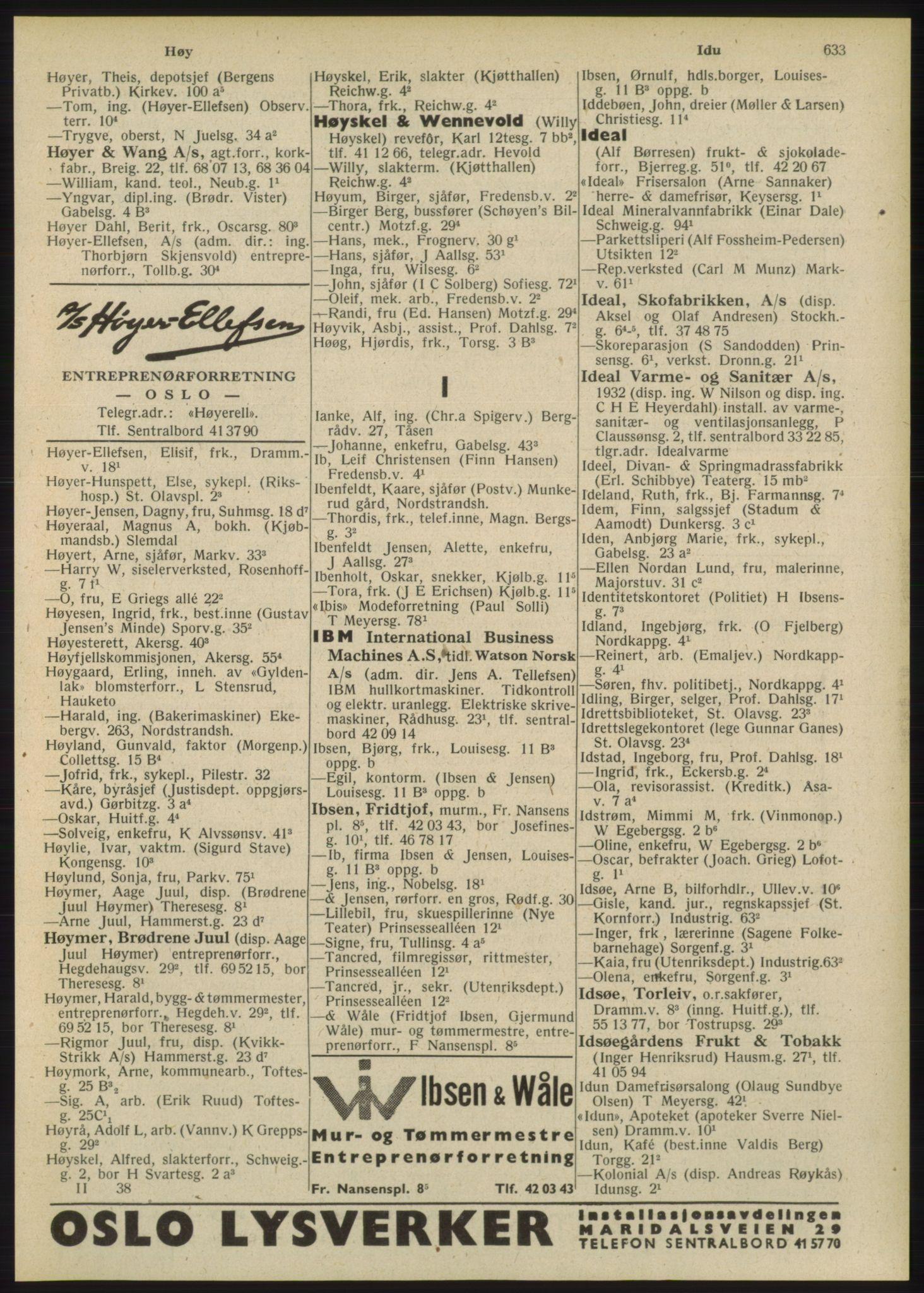RA, Oslo adressebok (publikasjon)*, 1948, s. 633