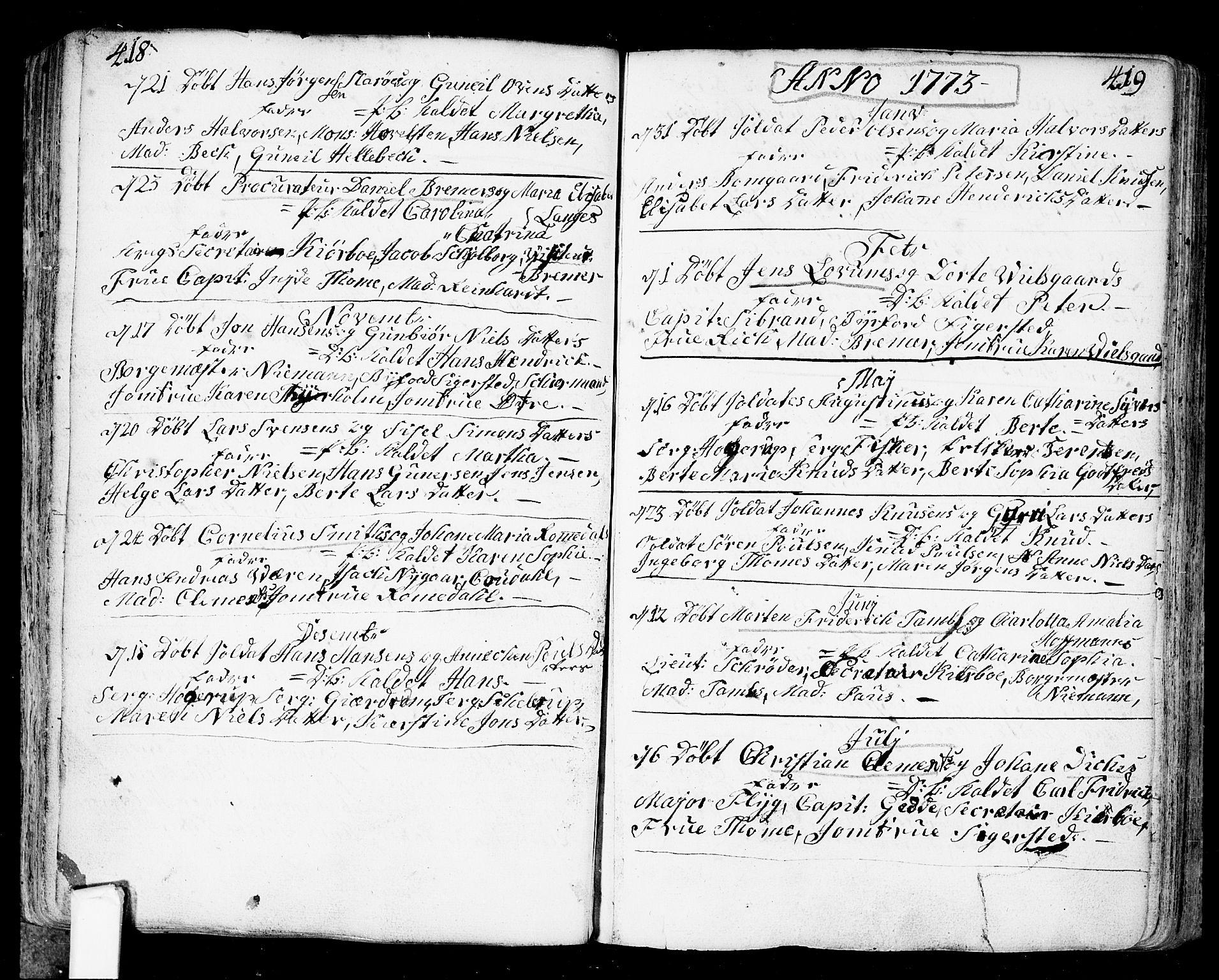 SAO, Fredrikstad prestekontor Kirkebøker, F/Fa/L0002: Ministerialbok nr. 2, 1750-1804, s. 418-419