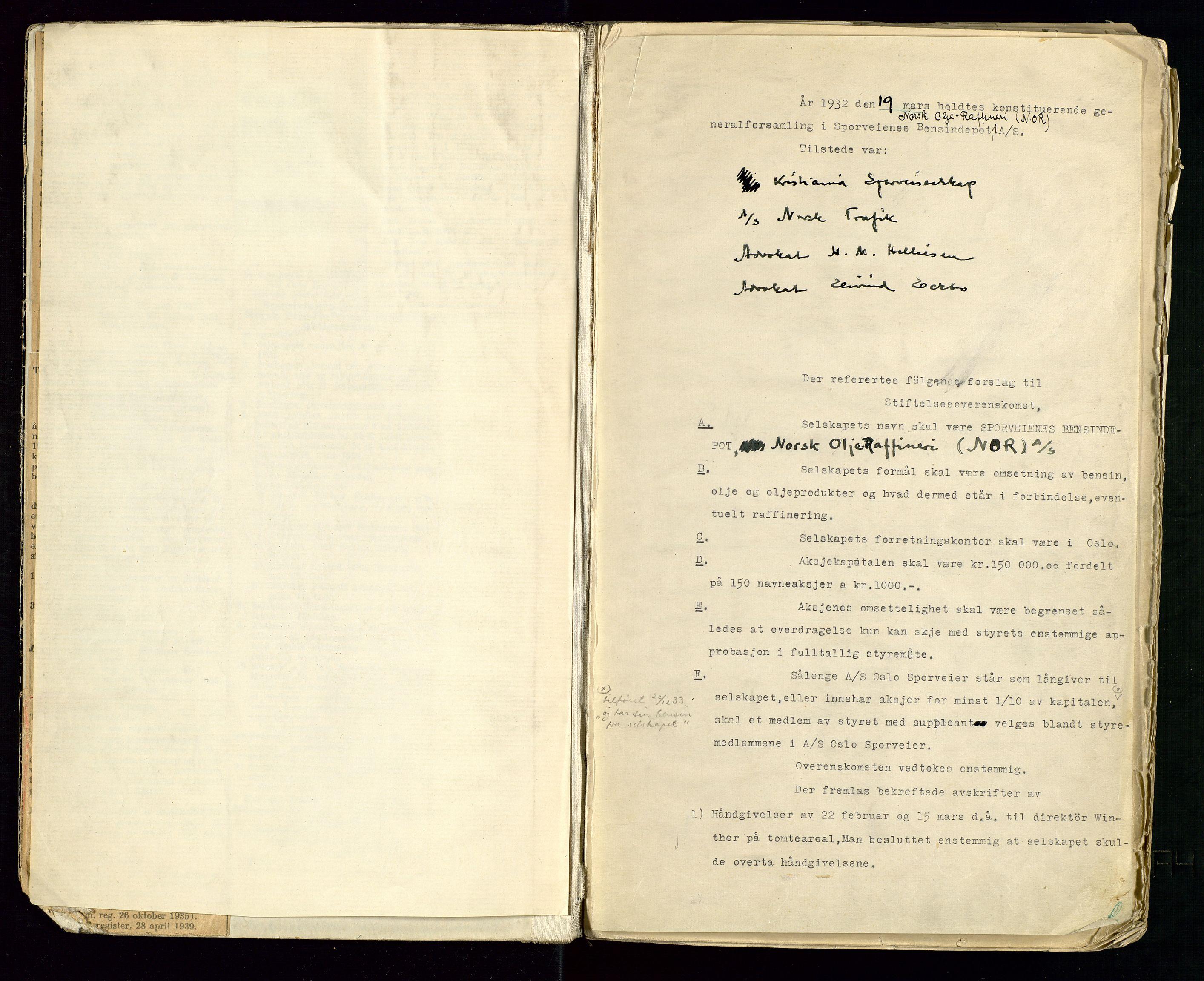 SAST, PA 1514 - Sporveienes Bensindepot, Norsk Oljeraffineri A/S, A/L0001: Styreprotokoll. Forhandlingsprotokoll Arbeidsutvaget, 1932-1949, s. 3