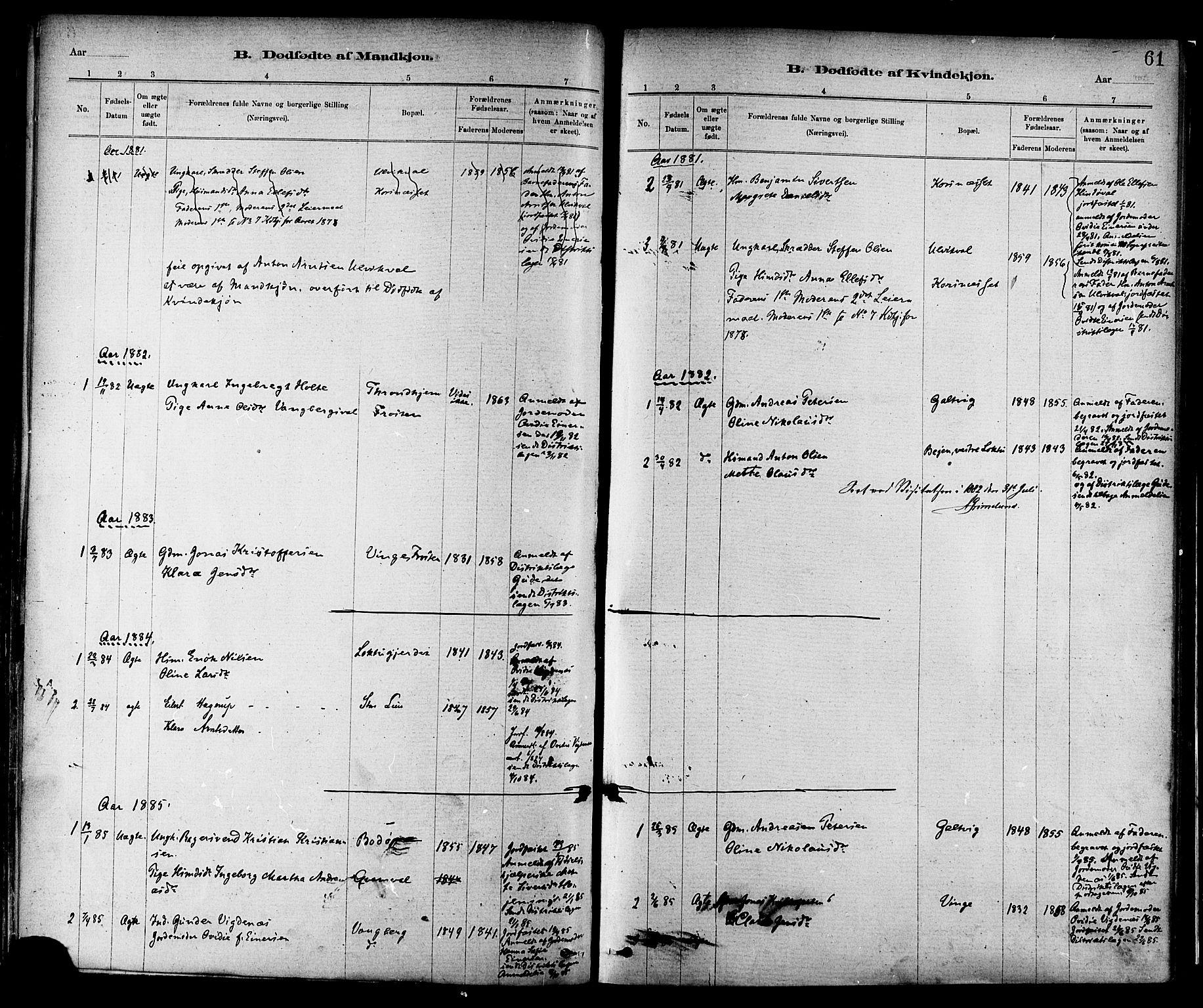 SAT, Ministerialprotokoller, klokkerbøker og fødselsregistre - Nord-Trøndelag, 713/L0120: Ministerialbok nr. 713A09, 1878-1887, s. 61