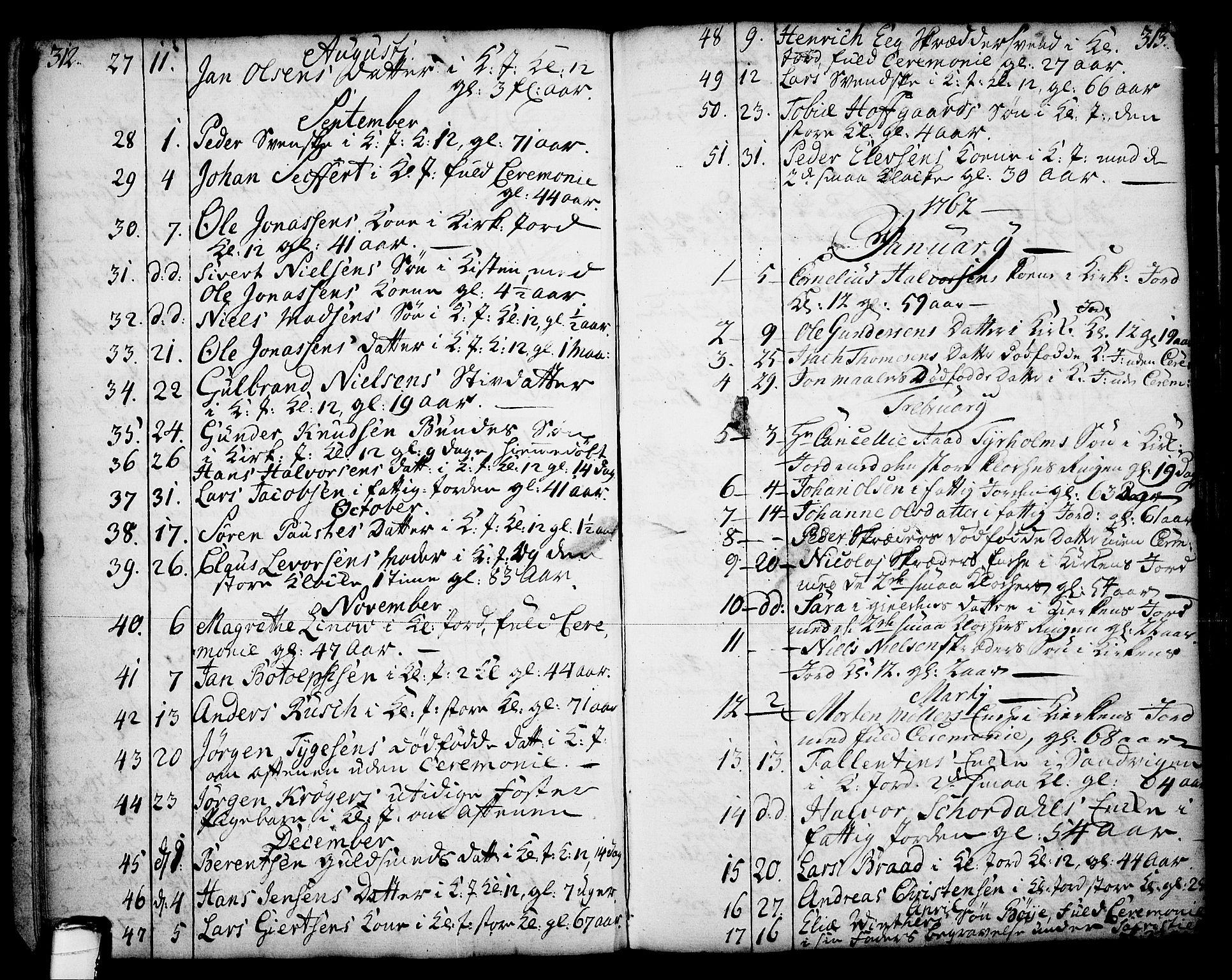 SAKO, Skien kirkebøker, F/Fa/L0003: Ministerialbok nr. 3, 1755-1791, s. 312-313