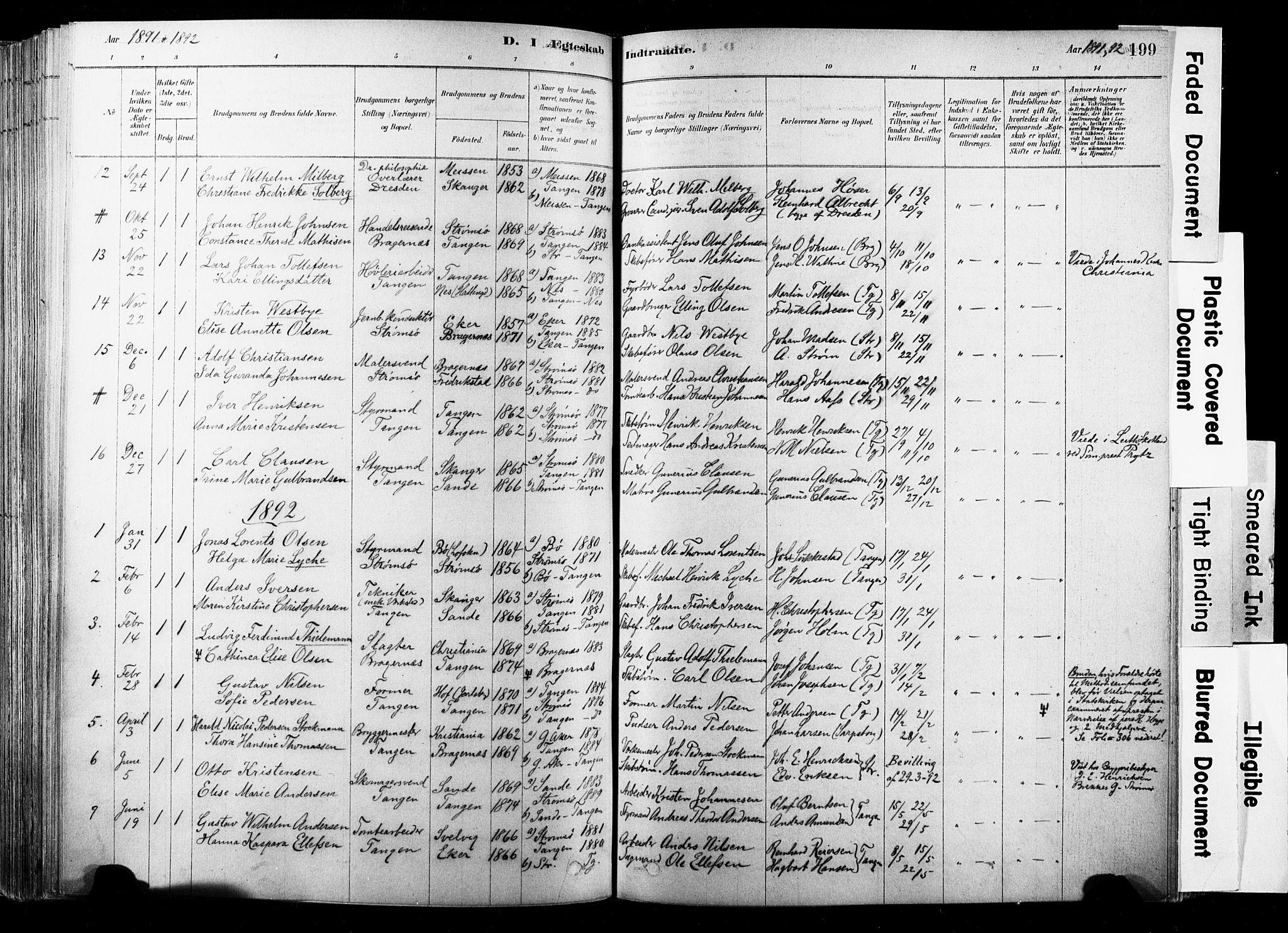 SAKO, Strømsø kirkebøker, F/Fb/L0006: Ministerialbok nr. II 6, 1879-1910, s. 199