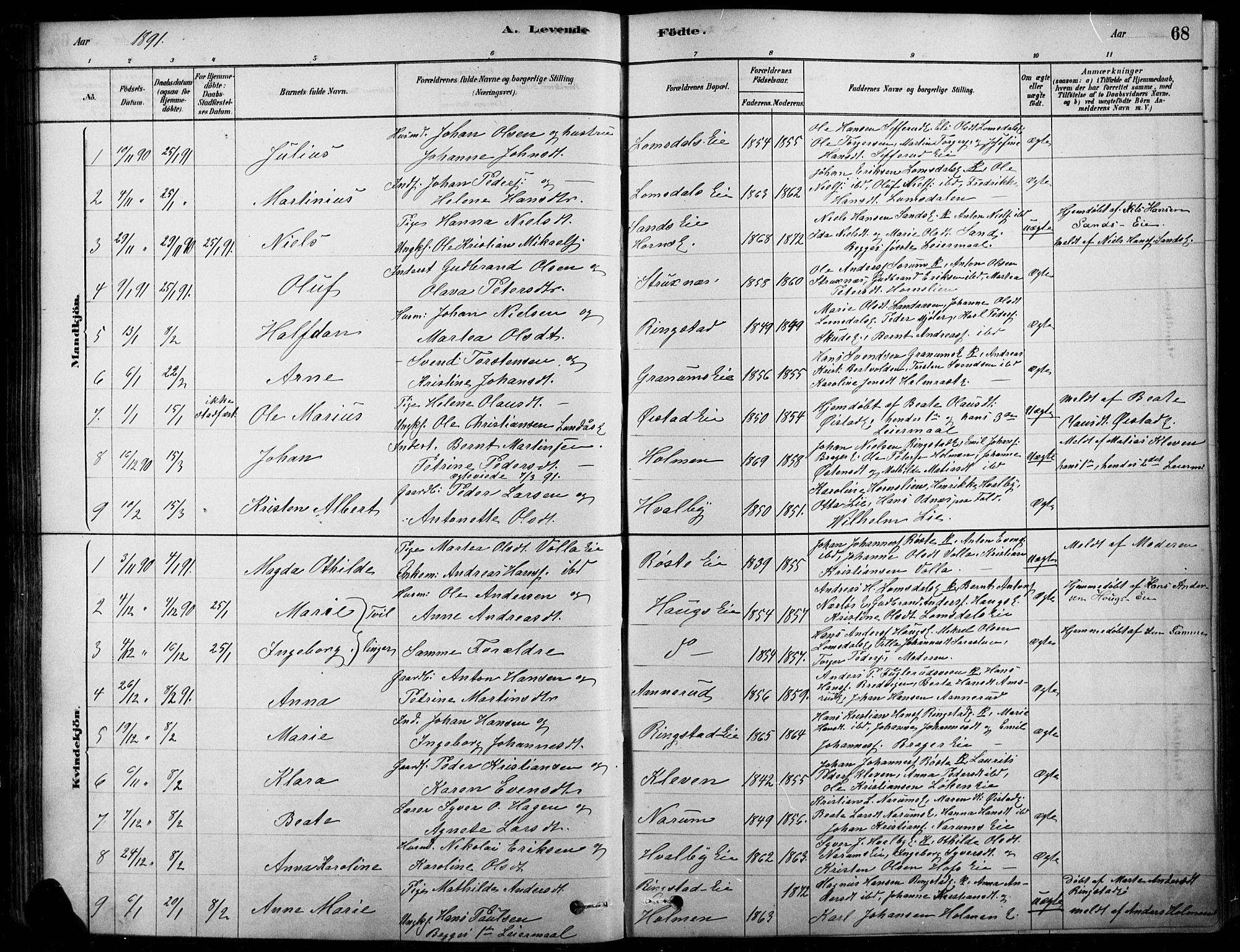 SAH, Søndre Land prestekontor, K/L0003: Ministerialbok nr. 3, 1878-1894, s. 68