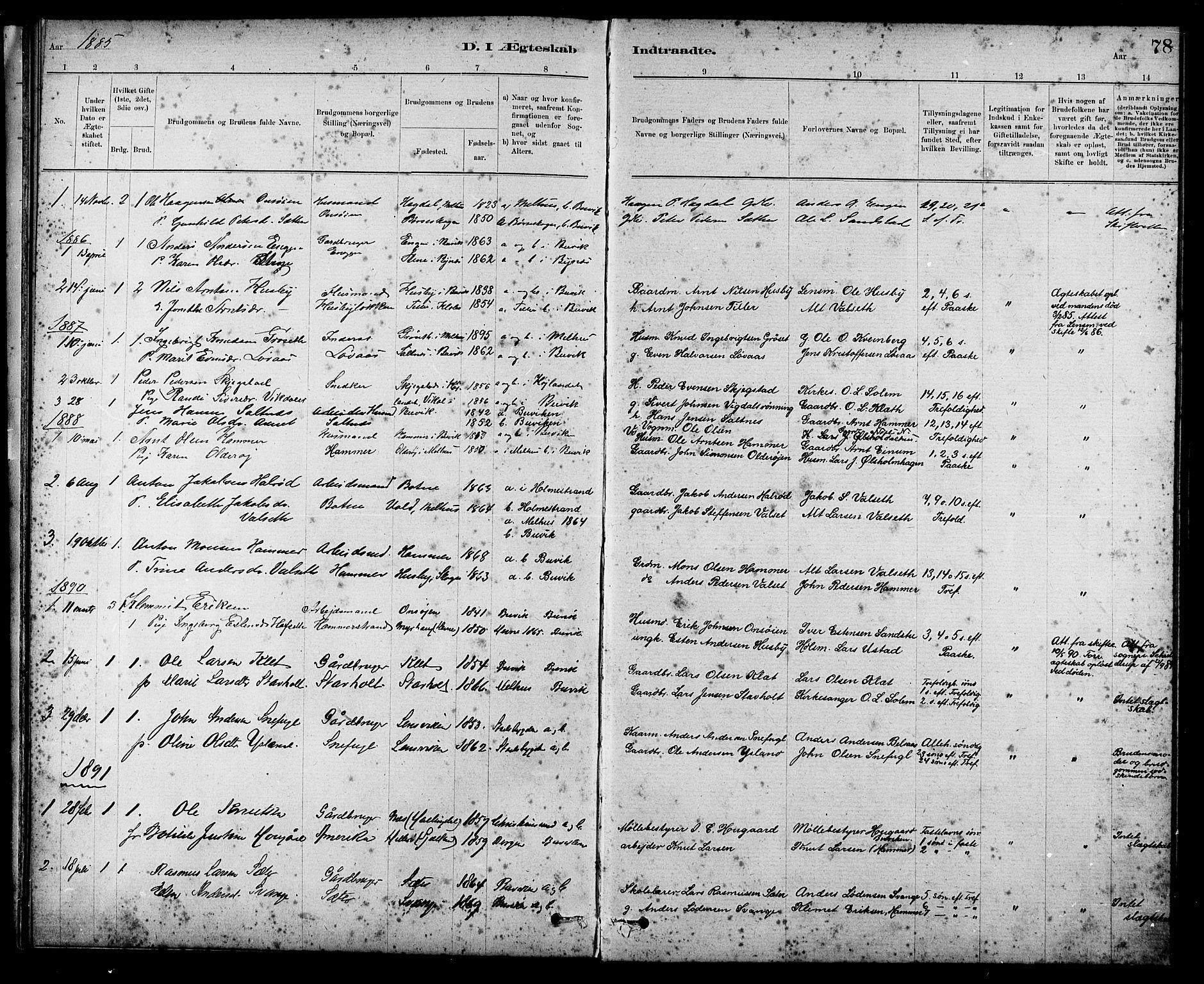 SAT, Ministerialprotokoller, klokkerbøker og fødselsregistre - Sør-Trøndelag, 666/L0790: Klokkerbok nr. 666C03, 1885-1908, s. 78