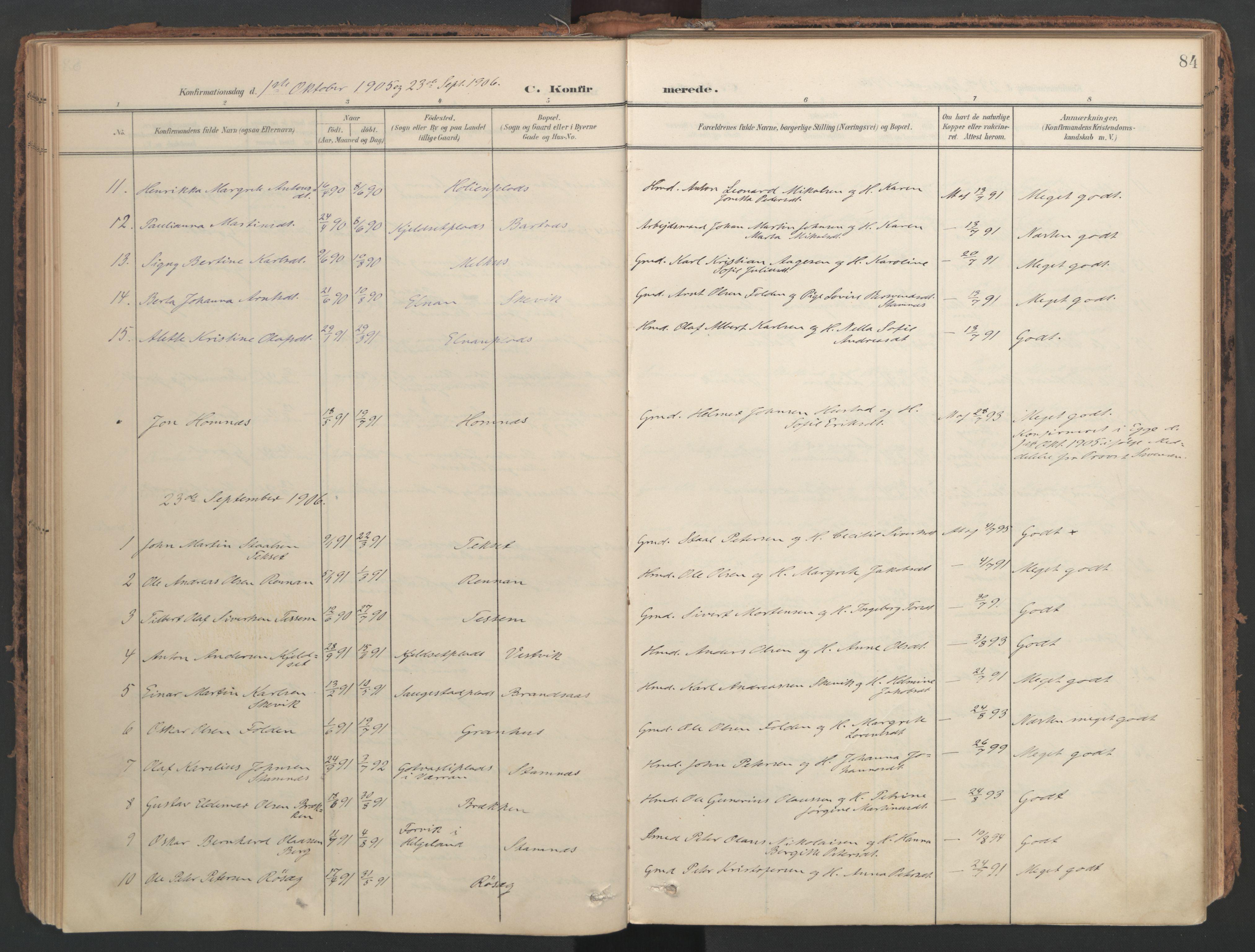 SAT, Ministerialprotokoller, klokkerbøker og fødselsregistre - Nord-Trøndelag, 741/L0397: Ministerialbok nr. 741A11, 1901-1911, s. 84