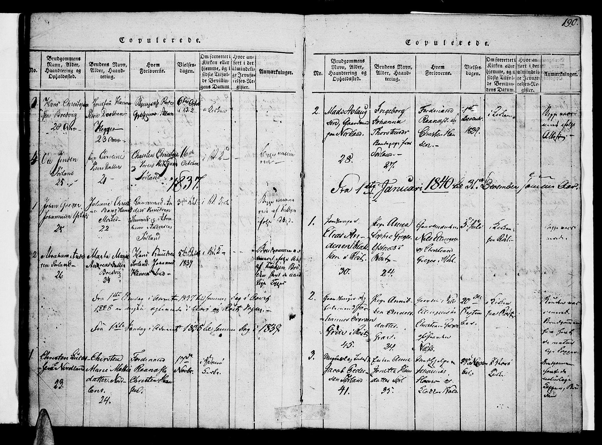 SAT, Ministerialprotokoller, klokkerbøker og fødselsregistre - Nordland, 807/L0120: Ministerialbok nr. 807A03, 1821-1848, s. 190