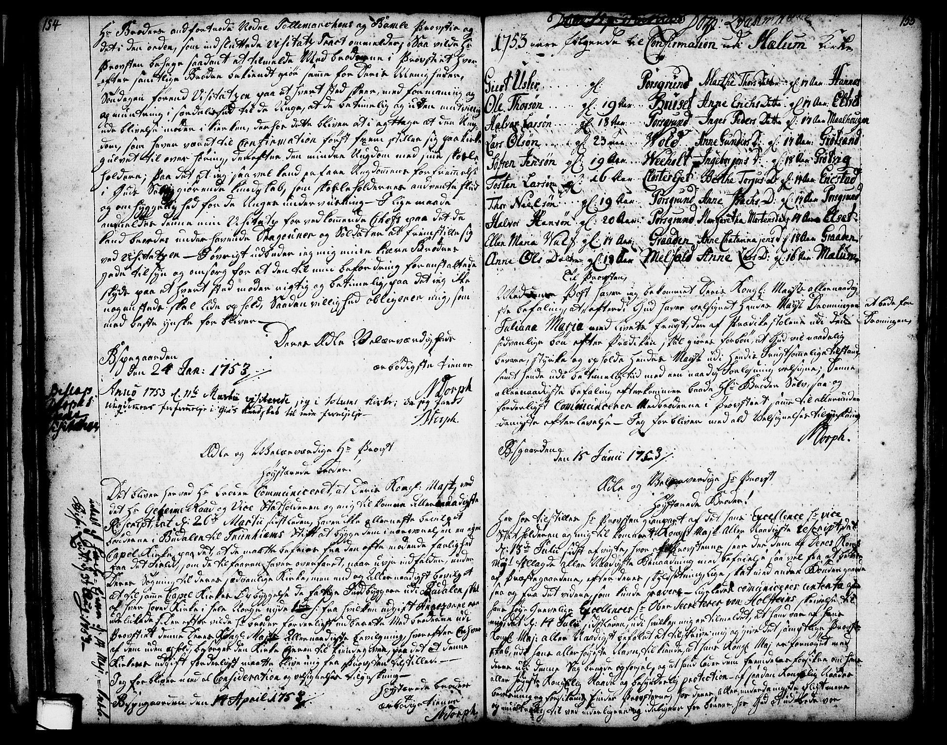 SAKO, Solum kirkebøker, Annen kirkebok nr. ?, 1743-1791, s. 154-155