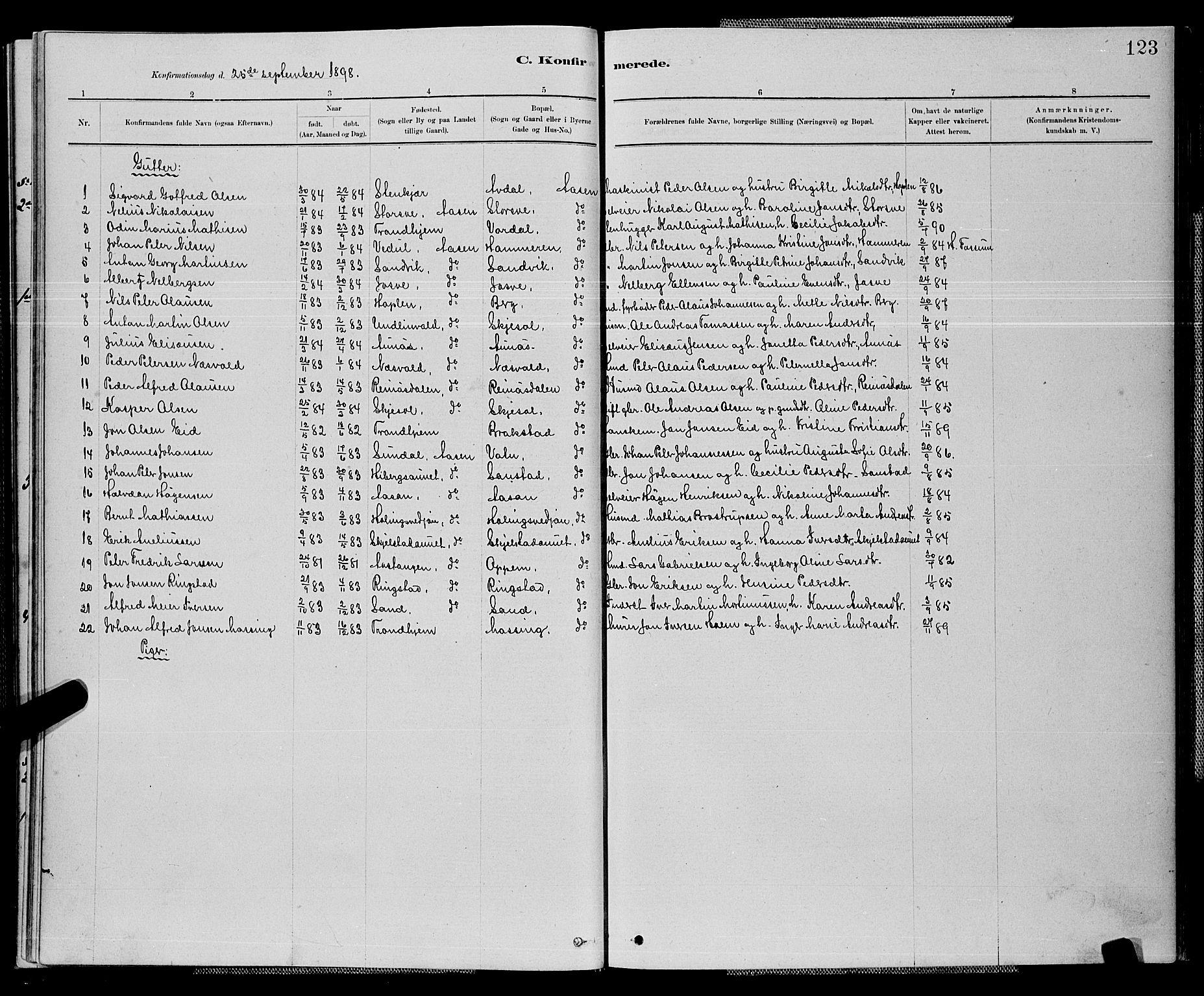 SAT, Ministerialprotokoller, klokkerbøker og fødselsregistre - Nord-Trøndelag, 714/L0134: Klokkerbok nr. 714C03, 1878-1898, s. 123