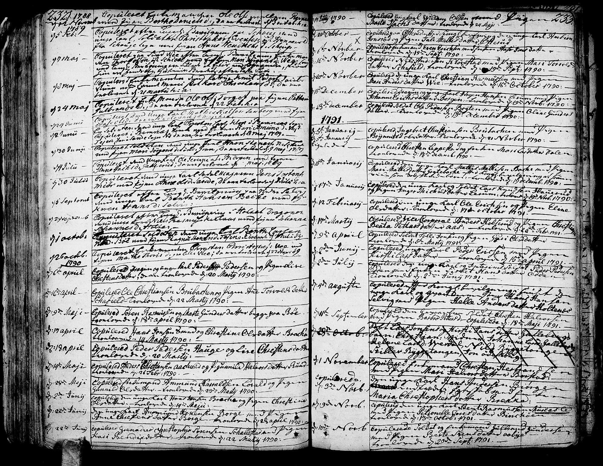 SAKO, Sande Kirkebøker, F/Fa/L0001: Ministerialbok nr. 1, 1753-1803, s. 232-233