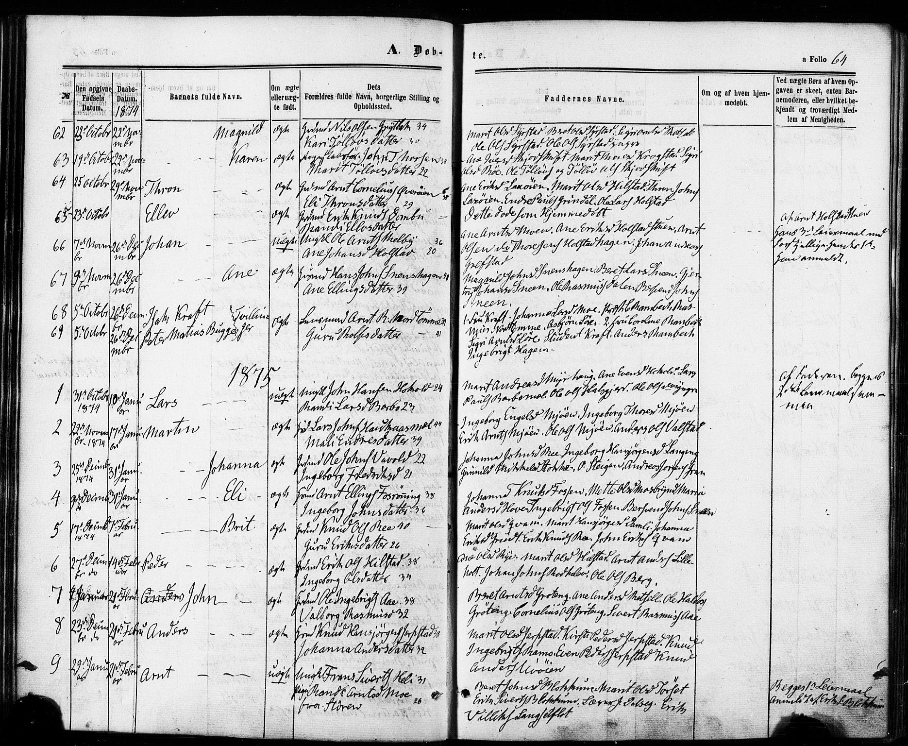 SAT, Ministerialprotokoller, klokkerbøker og fødselsregistre - Sør-Trøndelag, 672/L0856: Ministerialbok nr. 672A08, 1861-1881, s. 64