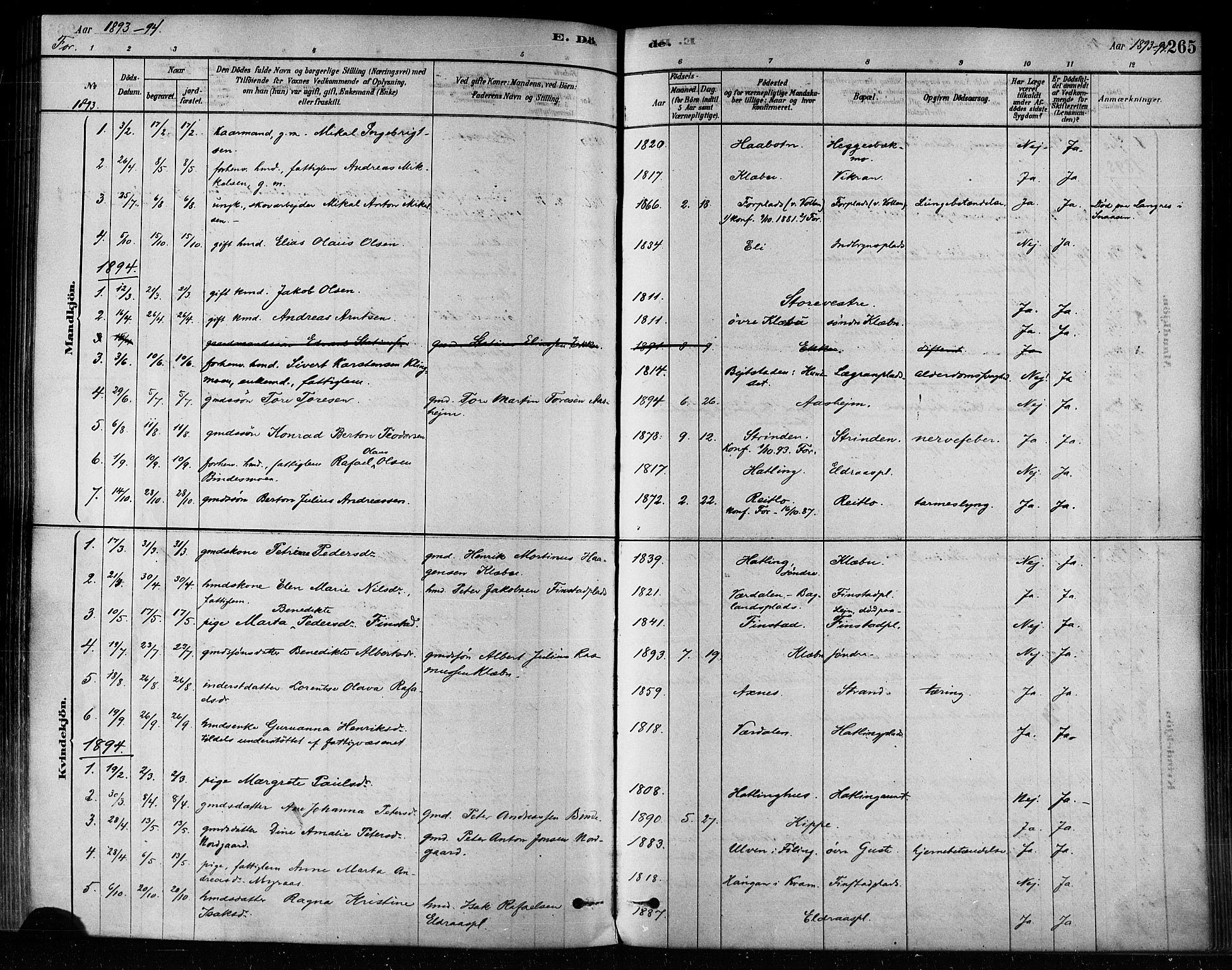 SAT, Ministerialprotokoller, klokkerbøker og fødselsregistre - Nord-Trøndelag, 746/L0448: Ministerialbok nr. 746A07 /1, 1878-1900, s. 265
