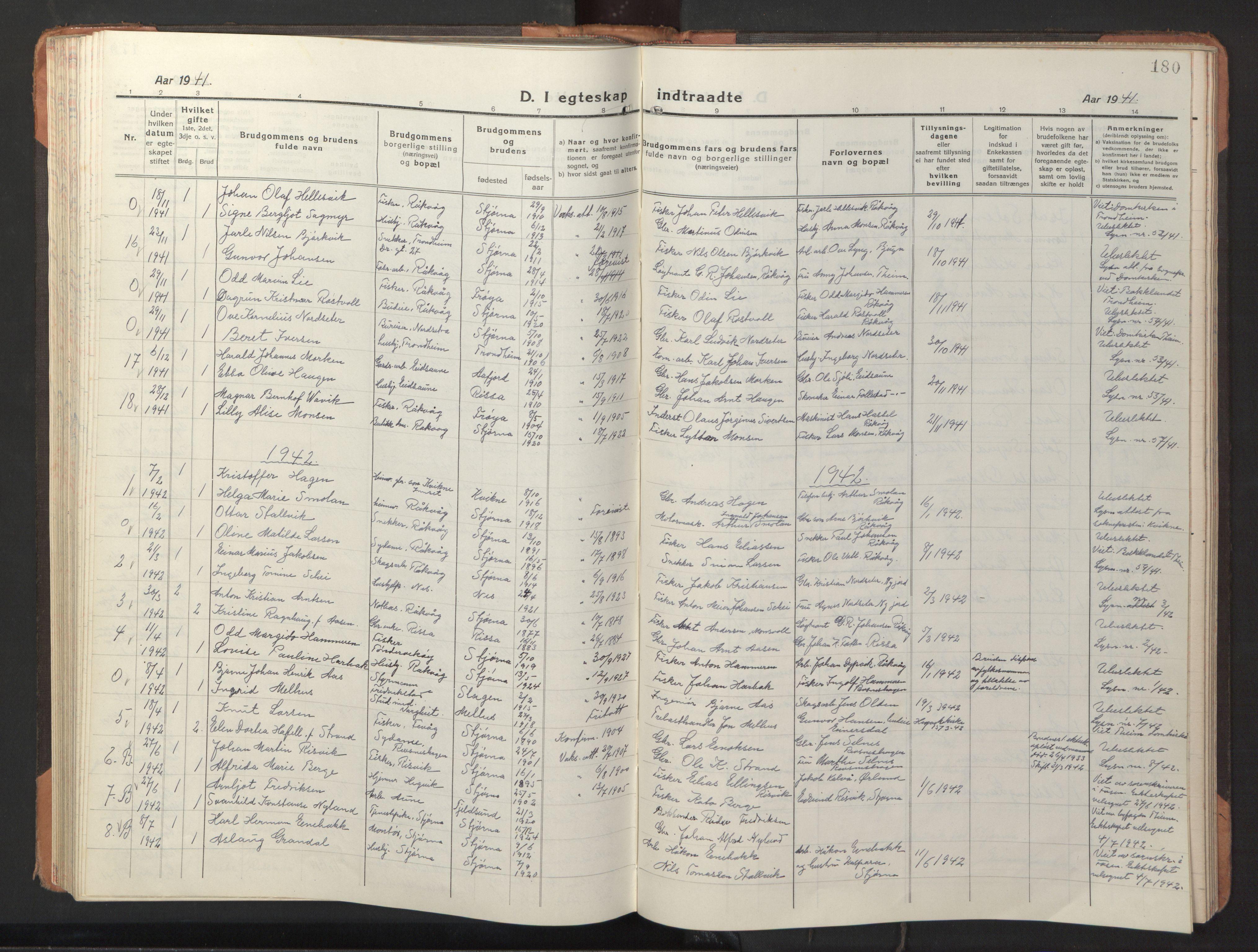 SAT, Ministerialprotokoller, klokkerbøker og fødselsregistre - Sør-Trøndelag, 653/L0658: Klokkerbok nr. 653C02, 1919-1947, s. 180