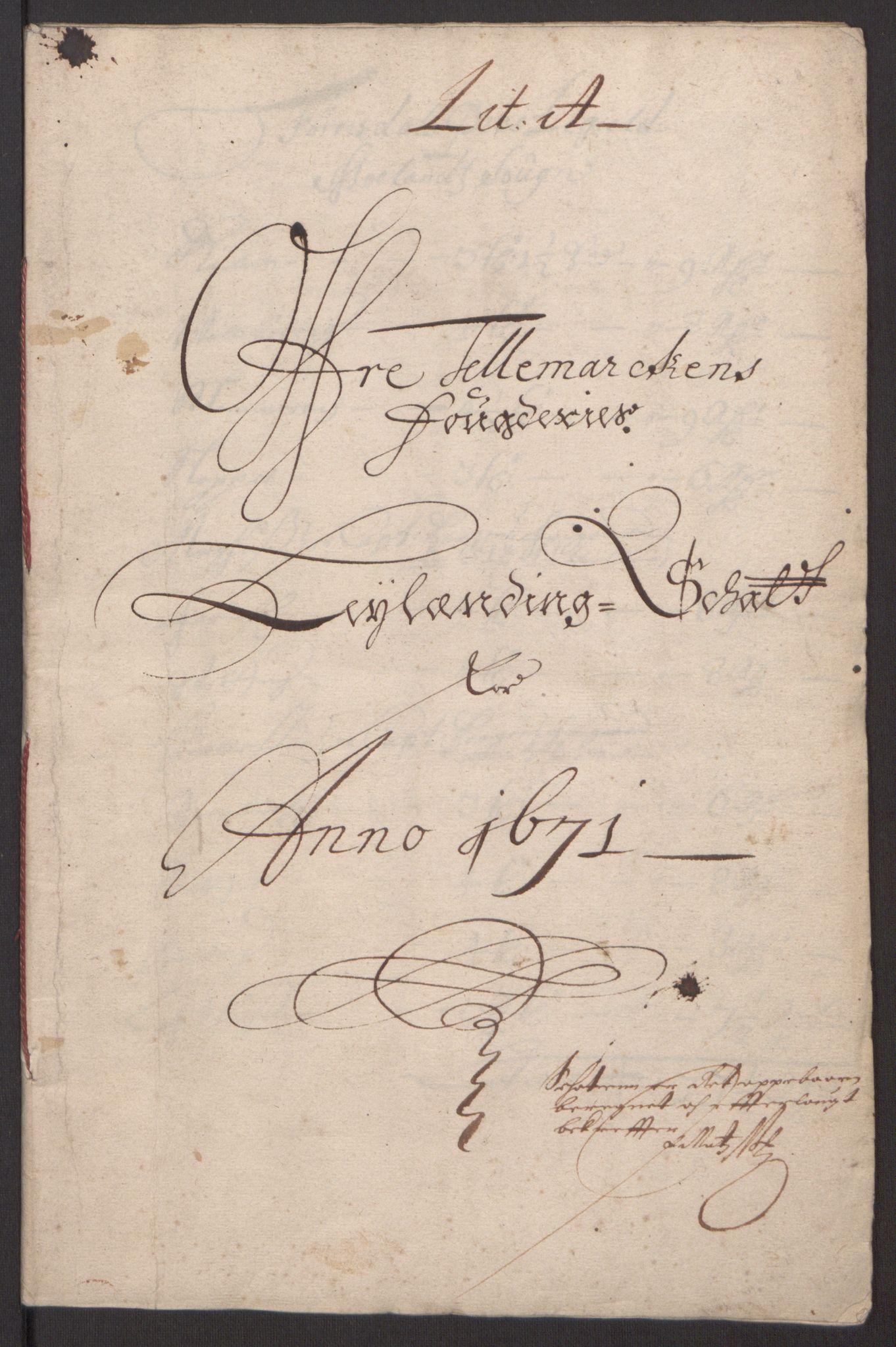 RA, Rentekammeret inntil 1814, Reviderte regnskaper, Fogderegnskap, R35/L2060: Fogderegnskap Øvre og Nedre Telemark, 1671-1672, s. 5