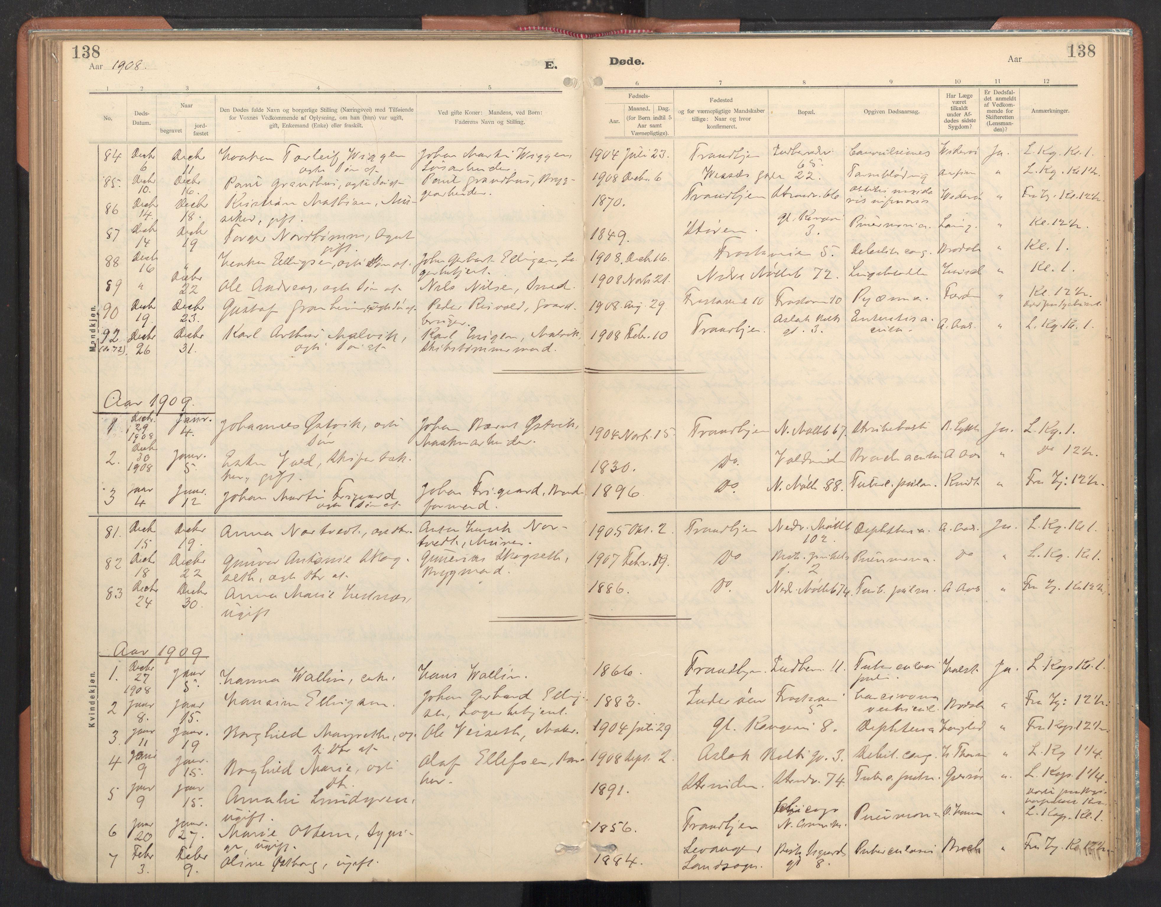 SAT, Ministerialprotokoller, klokkerbøker og fødselsregistre - Sør-Trøndelag, 605/L0244: Ministerialbok nr. 605A06, 1908-1954, s. 138