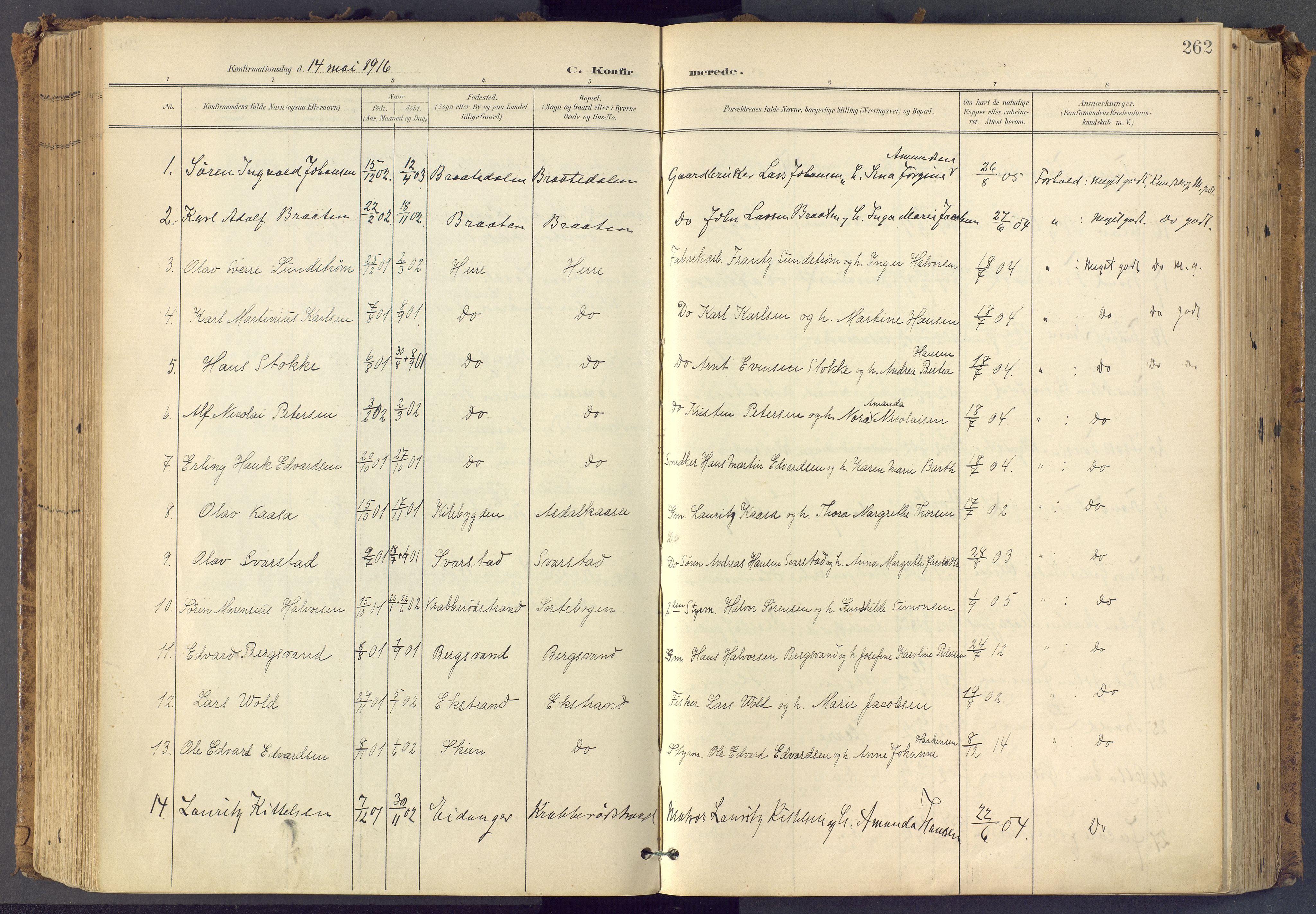 SAKO, Bamble kirkebøker, F/Fa/L0009: Ministerialbok nr. I 9, 1901-1917, s. 262