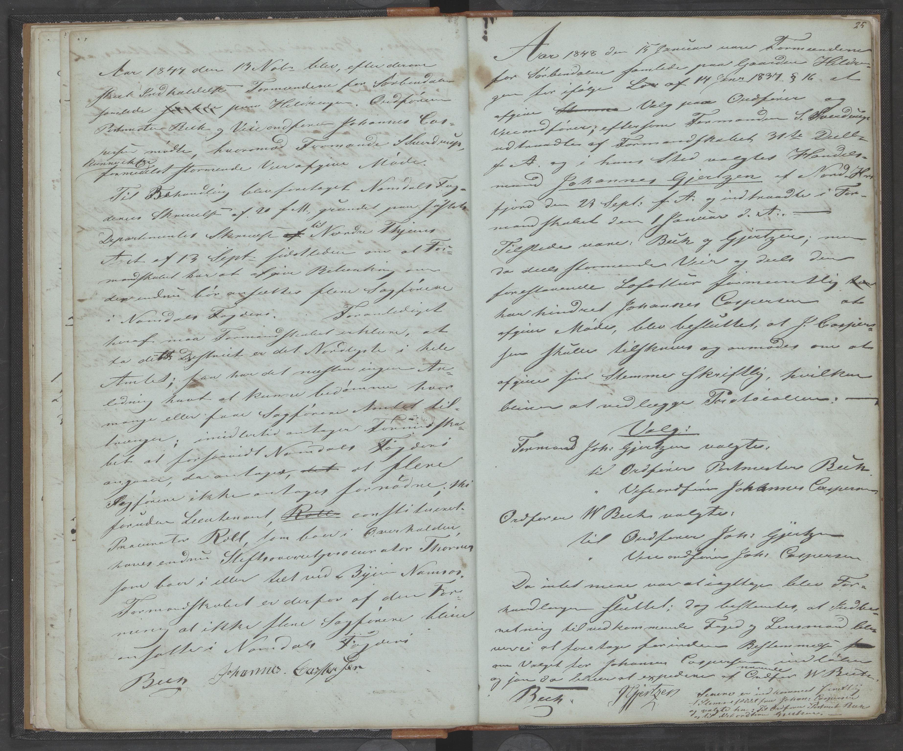 AIN, Bindal kommune. Formannskapet, A/Aa/L0000a: Møtebok, 1843-1881, s. 25