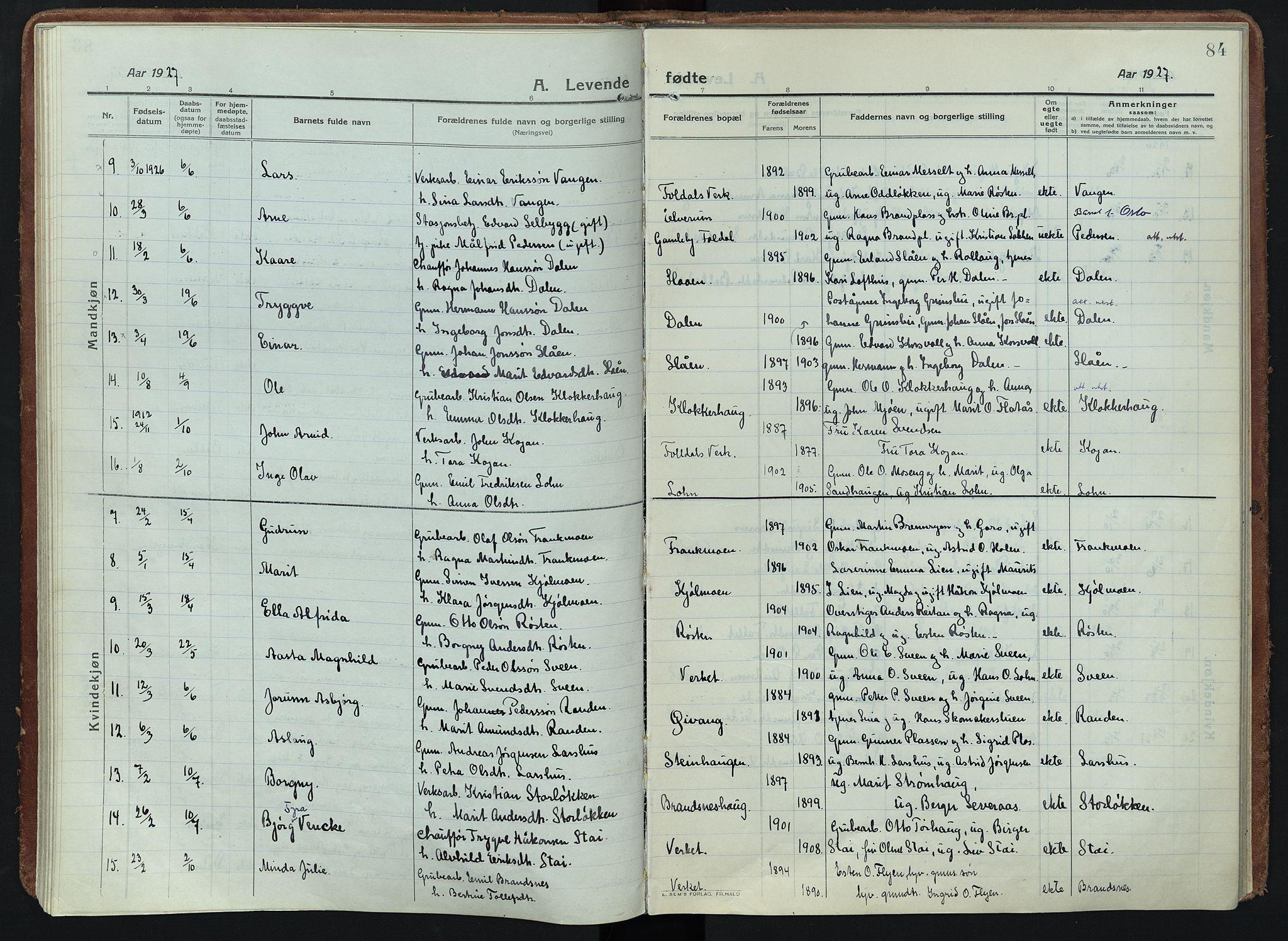 SAH, Alvdal prestekontor, Ministerialbok nr. 5, 1913-1930, s. 84