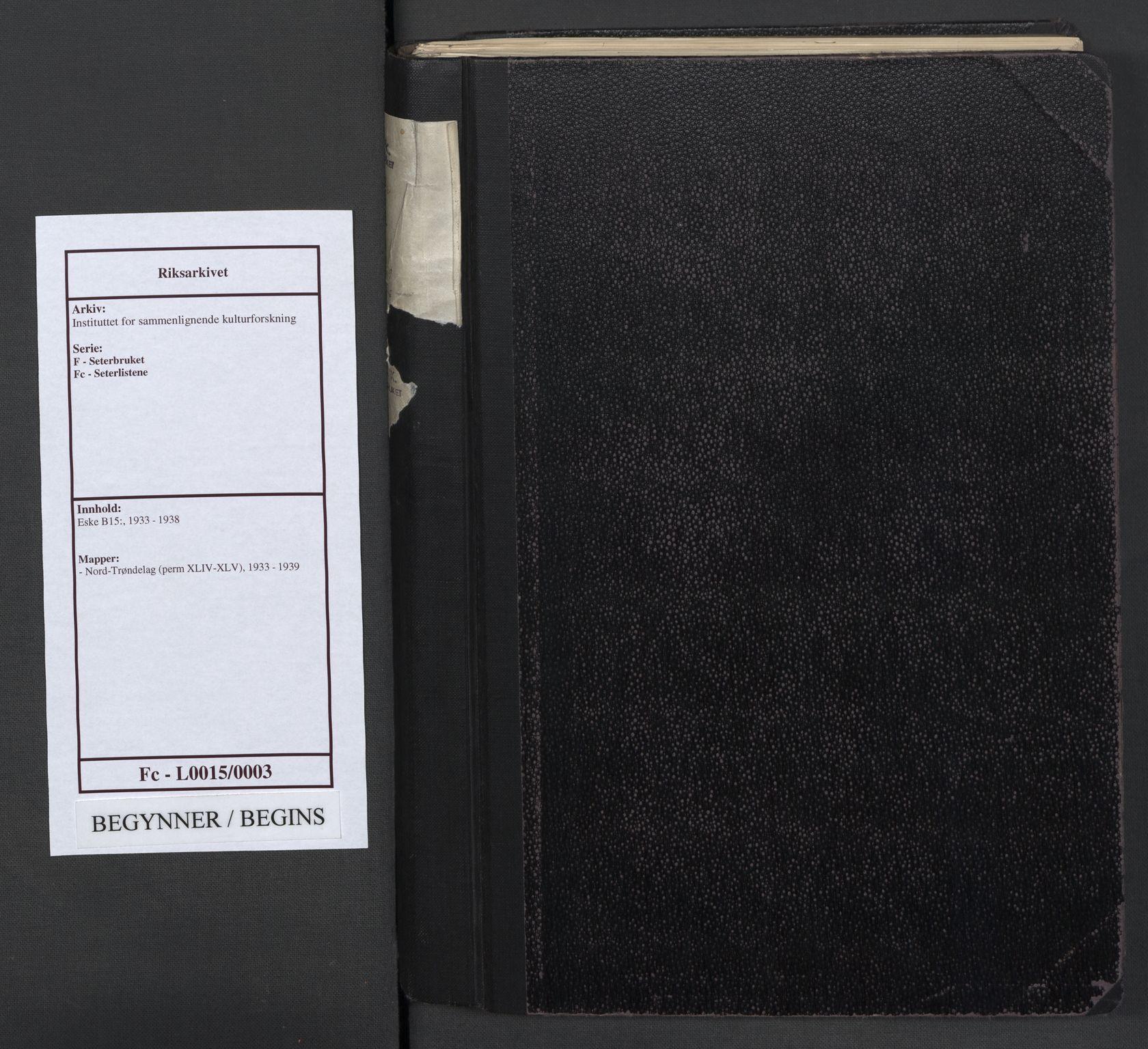 RA, Instituttet for sammenlignende kulturforskning, F/Fc/L0015: Eske B15:, 1933-1939, s. upaginert