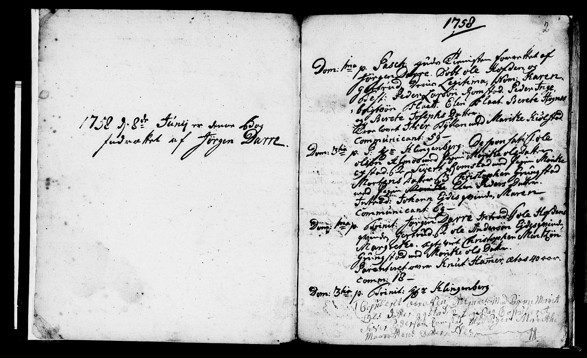 SAT, Ministerialprotokoller, klokkerbøker og fødselsregistre - Nord-Trøndelag, 765/L0561: Ministerialbok nr. 765A02, 1758-1765, s. 2