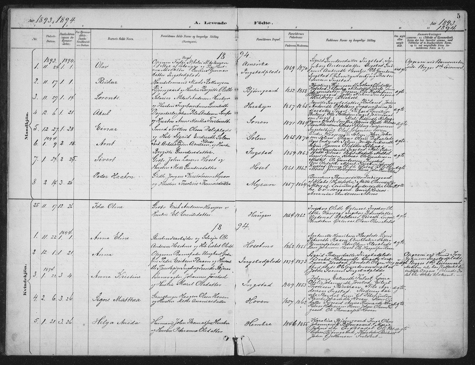 SAT, Ministerialprotokoller, klokkerbøker og fødselsregistre - Nord-Trøndelag, 703/L0031: Ministerialbok nr. 703A04, 1893-1914, s. 5
