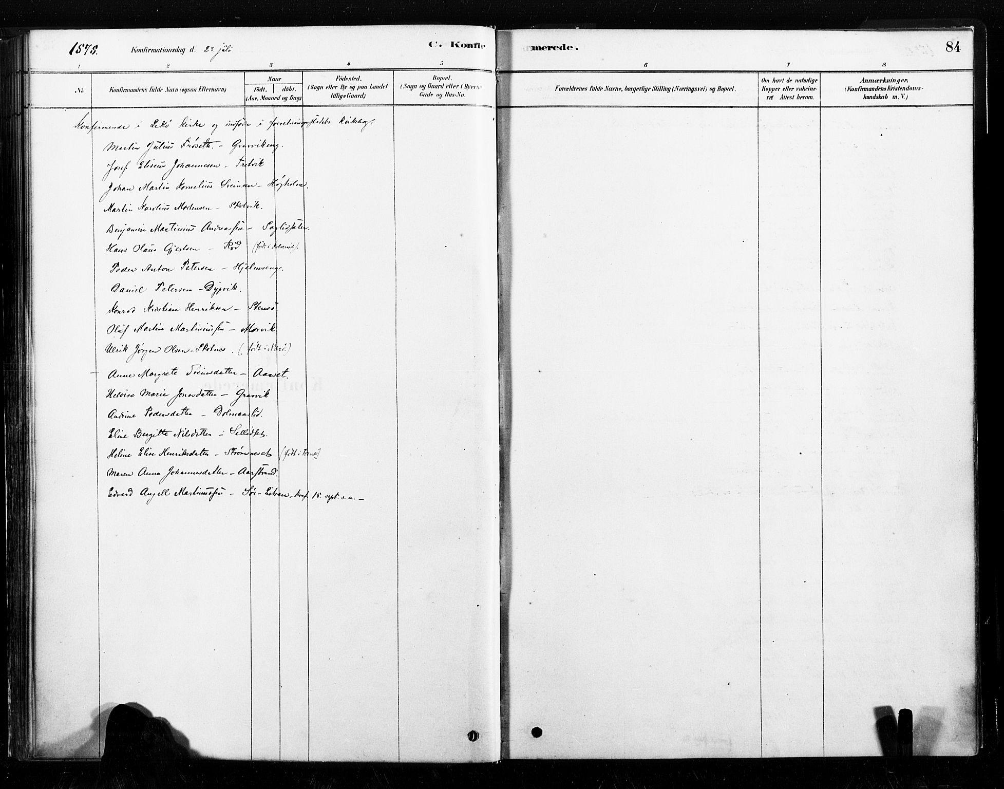 SAT, Ministerialprotokoller, klokkerbøker og fødselsregistre - Nord-Trøndelag, 789/L0705: Ministerialbok nr. 789A01, 1878-1910, s. 84