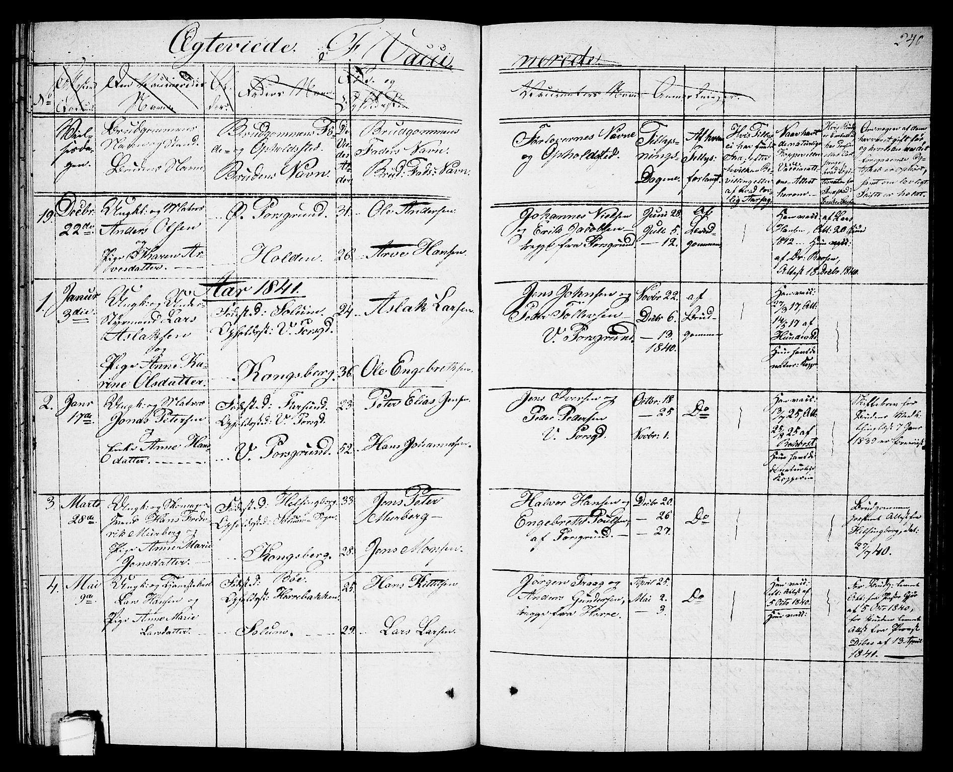 SAKO, Porsgrunn kirkebøker , G/Gb/L0002: Klokkerbok nr. II 2, 1828-1841, s. 240