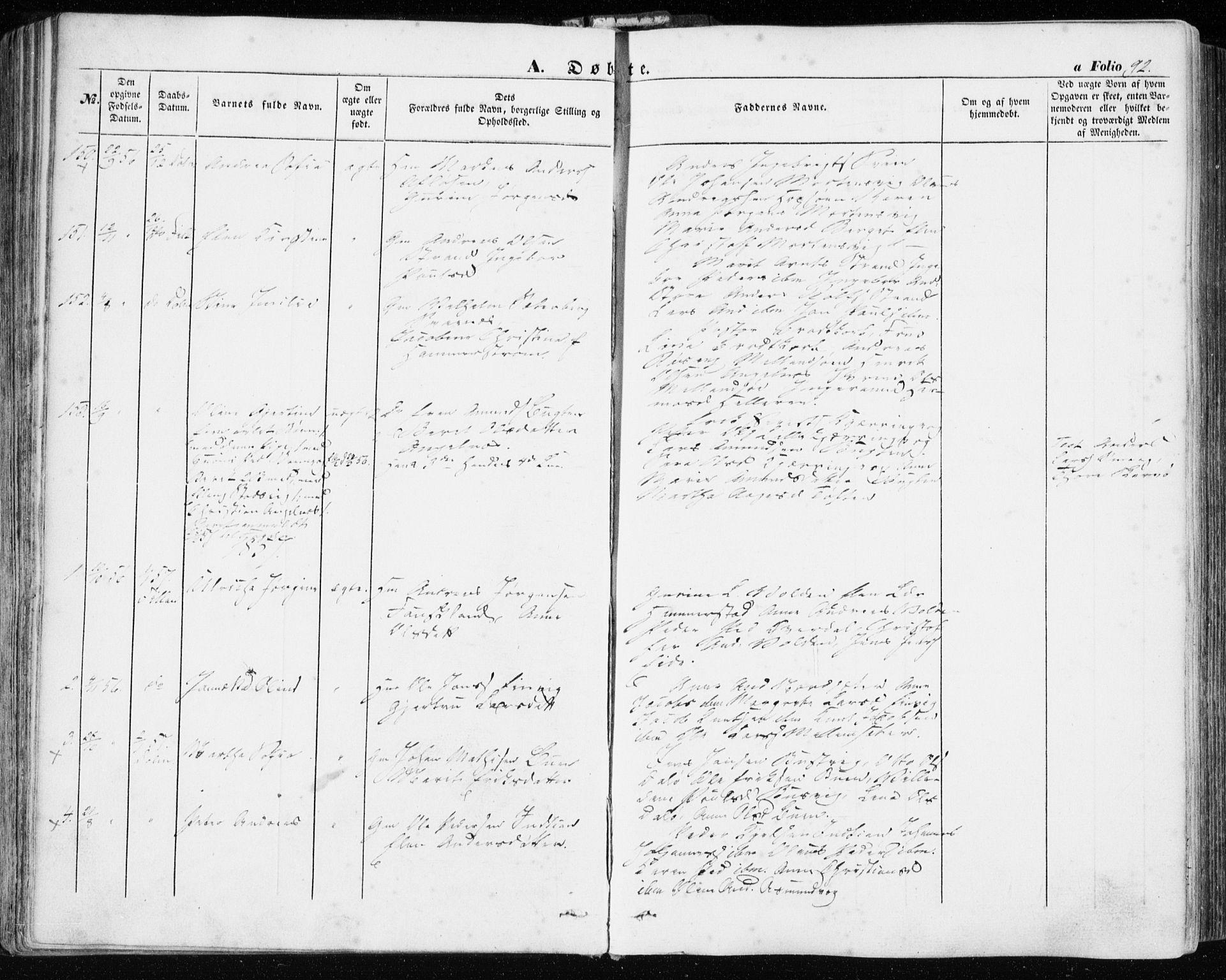 SAT, Ministerialprotokoller, klokkerbøker og fødselsregistre - Sør-Trøndelag, 634/L0530: Ministerialbok nr. 634A06, 1852-1860, s. 92