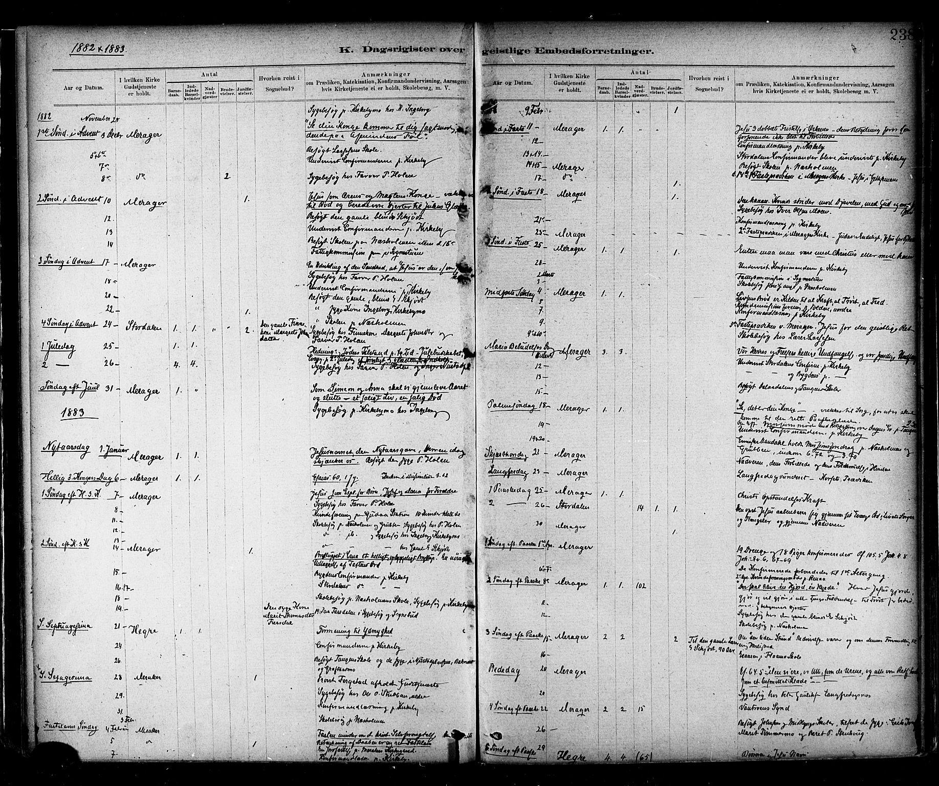 SAT, Ministerialprotokoller, klokkerbøker og fødselsregistre - Nord-Trøndelag, 706/L0047: Ministerialbok nr. 706A03, 1878-1892, s. 238