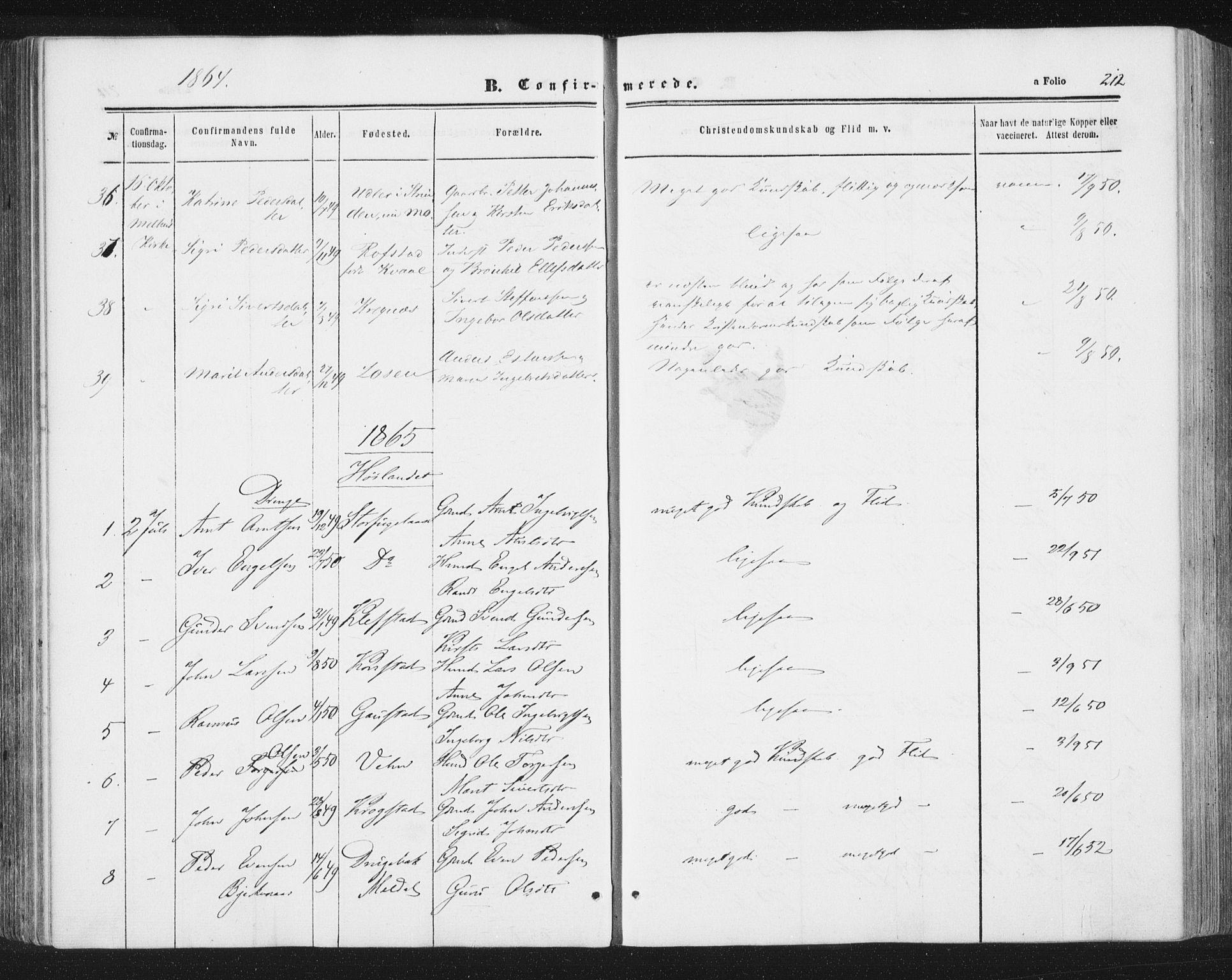 SAT, Ministerialprotokoller, klokkerbøker og fødselsregistre - Sør-Trøndelag, 691/L1077: Ministerialbok nr. 691A09, 1862-1873, s. 212
