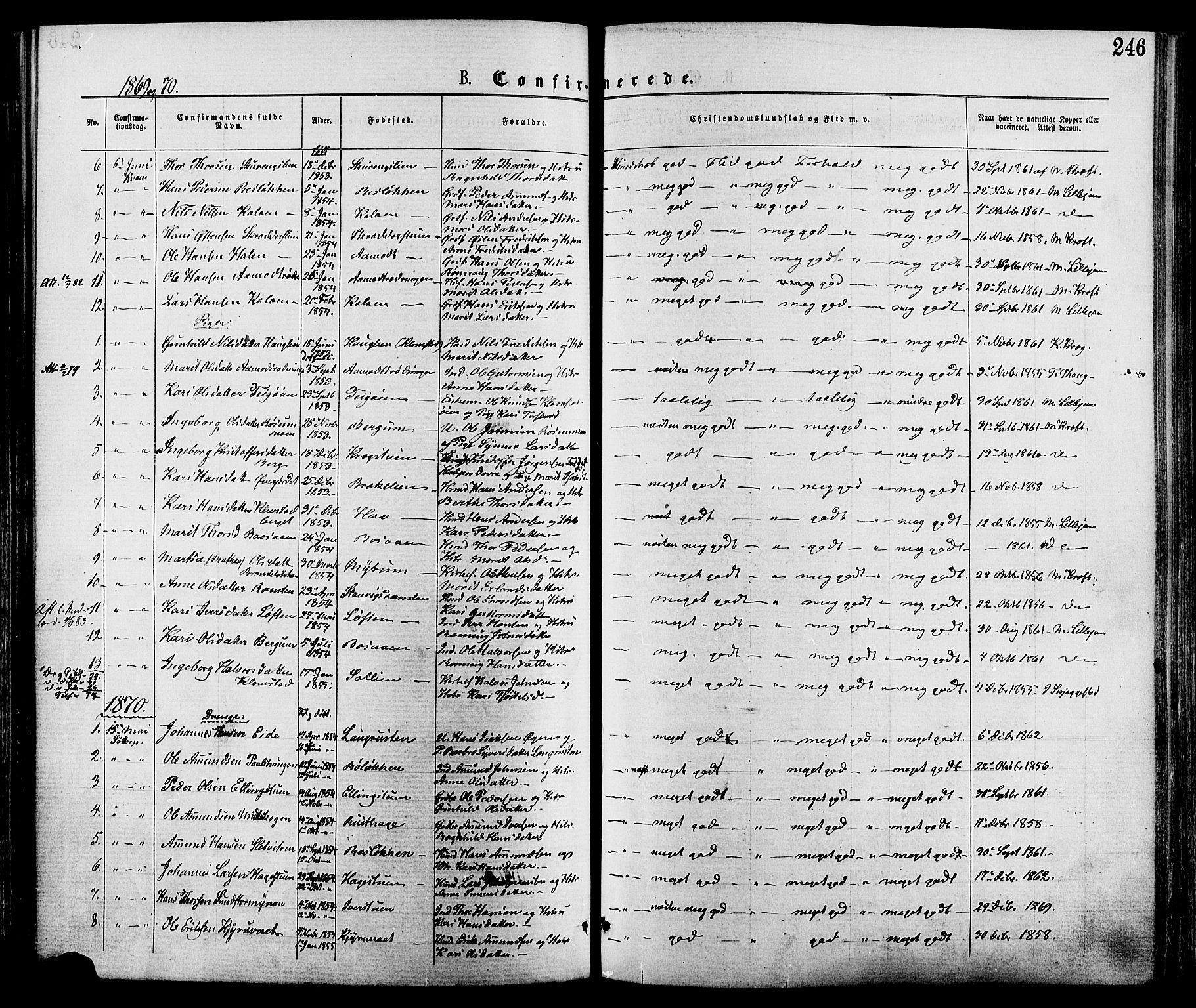 SAH, Nord-Fron prestekontor, Ministerialbok nr. 2, 1865-1883, s. 246