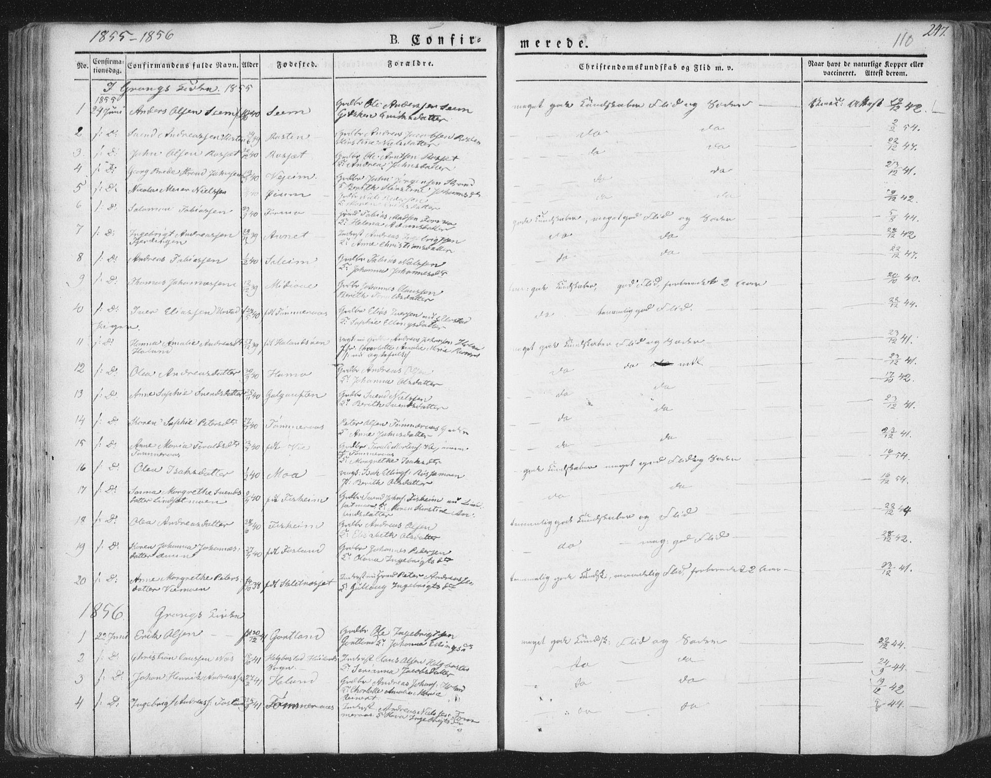 SAT, Ministerialprotokoller, klokkerbøker og fødselsregistre - Nord-Trøndelag, 758/L0513: Ministerialbok nr. 758A02 /1, 1839-1868, s. 110