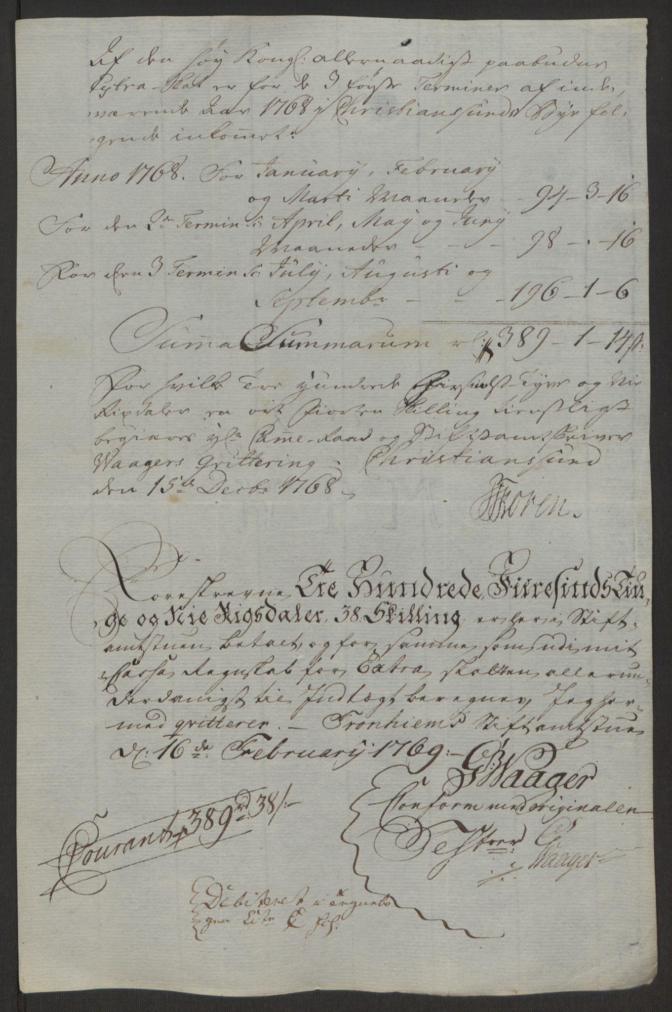 RA, Rentekammeret inntil 1814, Reviderte regnskaper, Byregnskaper, R/Rr/L0495: [R1] Kontribusjonsregnskap, 1762-1772, s. 199