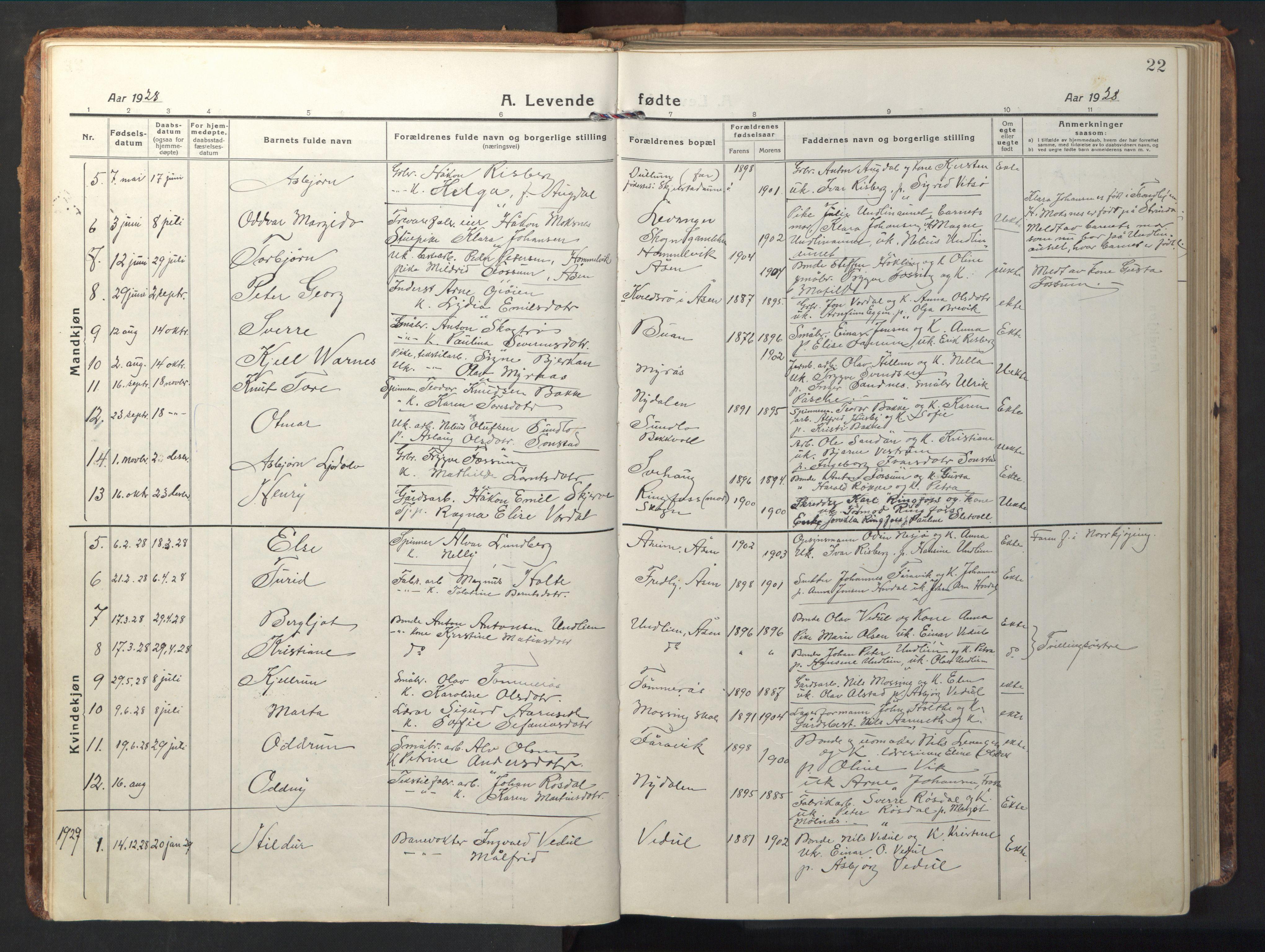SAT, Ministerialprotokoller, klokkerbøker og fødselsregistre - Nord-Trøndelag, 714/L0136: Klokkerbok nr. 714C05, 1918-1957, s. 22
