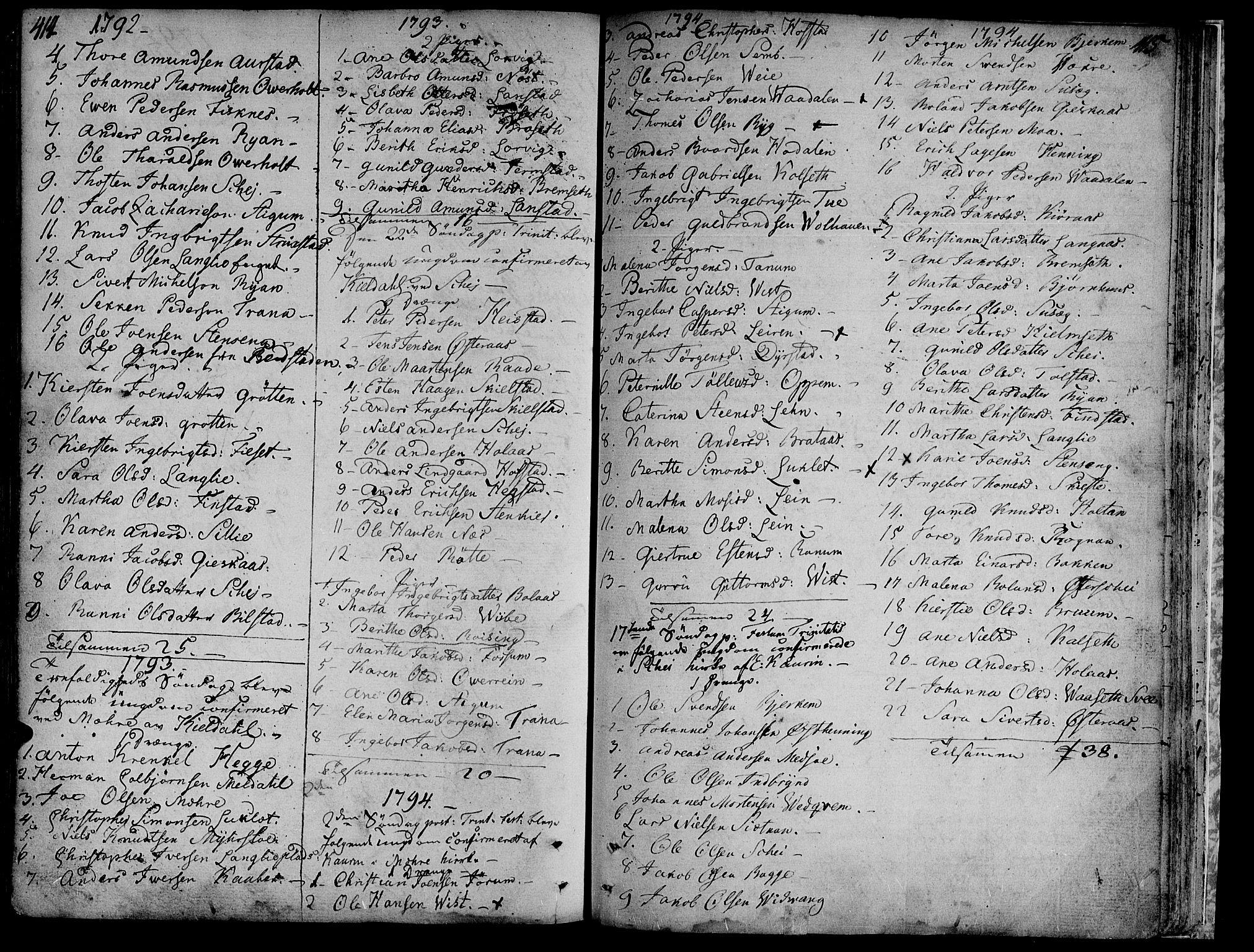 SAT, Ministerialprotokoller, klokkerbøker og fødselsregistre - Nord-Trøndelag, 735/L0331: Ministerialbok nr. 735A02, 1762-1794, s. 414-415