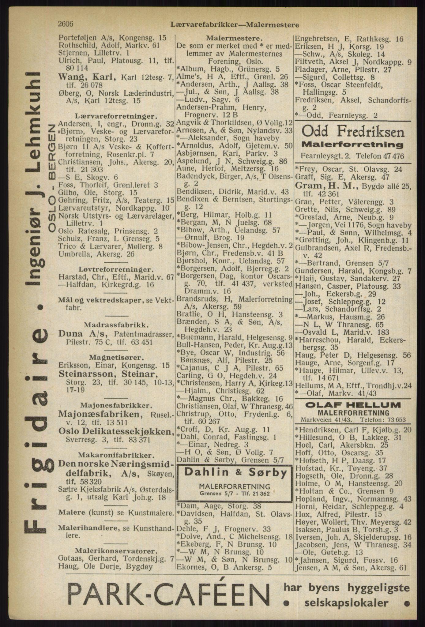 RA, Oslo adressebok (publikasjon)*, 1937, s. 2606