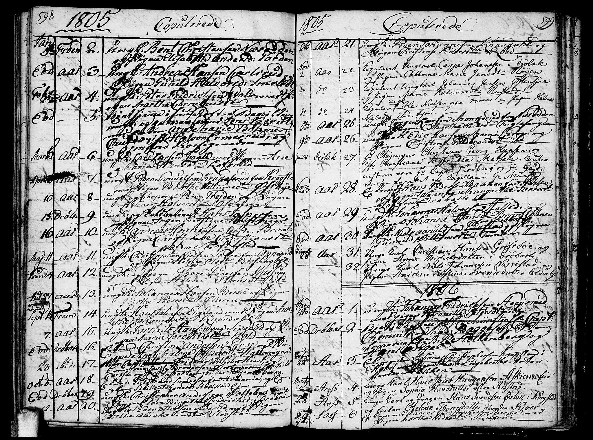 SAO, Ås prestekontor Kirkebøker, F/Fa/L0002: Ministerialbok nr. I 2, 1778-1813, s. 598-599