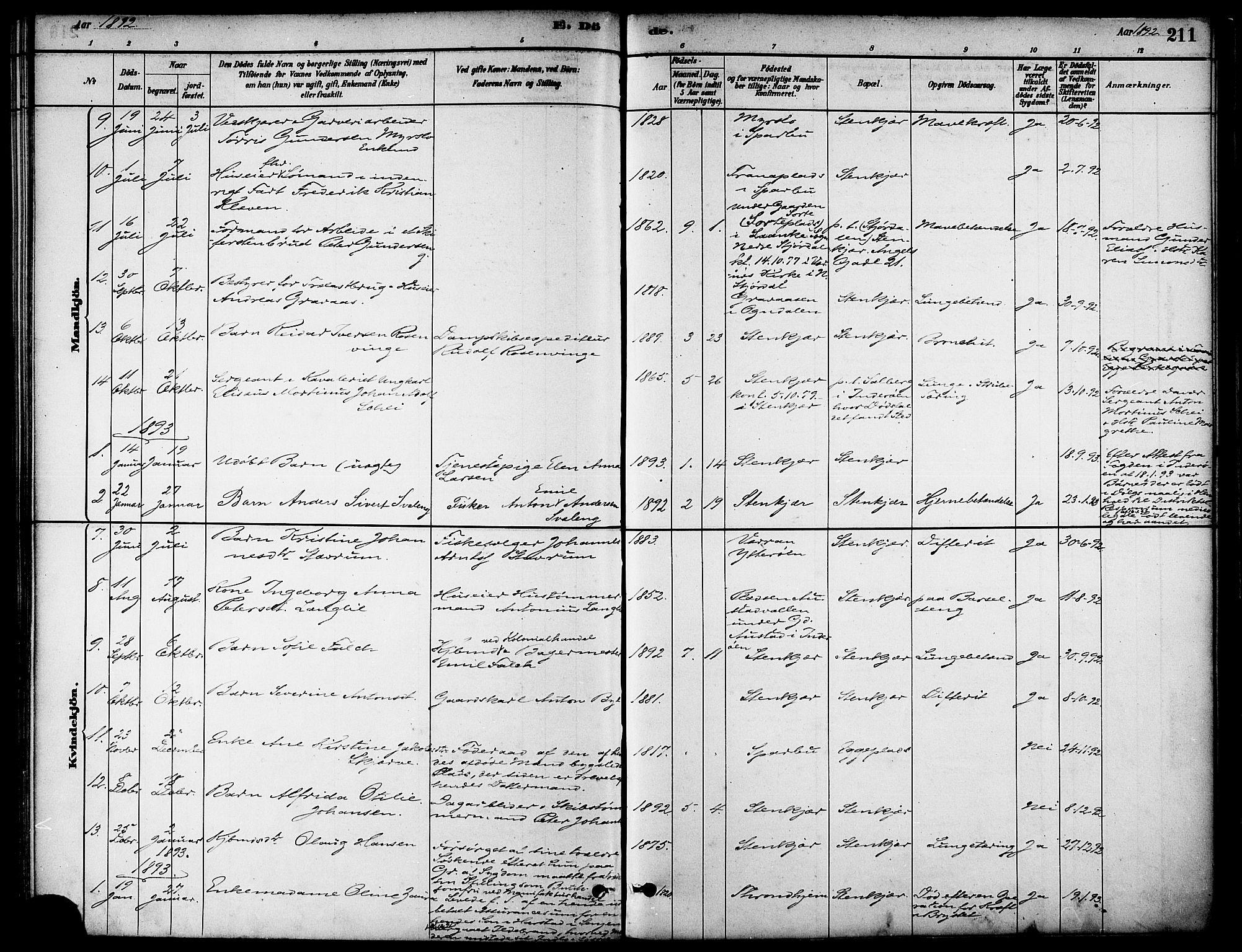 SAT, Ministerialprotokoller, klokkerbøker og fødselsregistre - Nord-Trøndelag, 739/L0371: Ministerialbok nr. 739A03, 1881-1895, s. 211