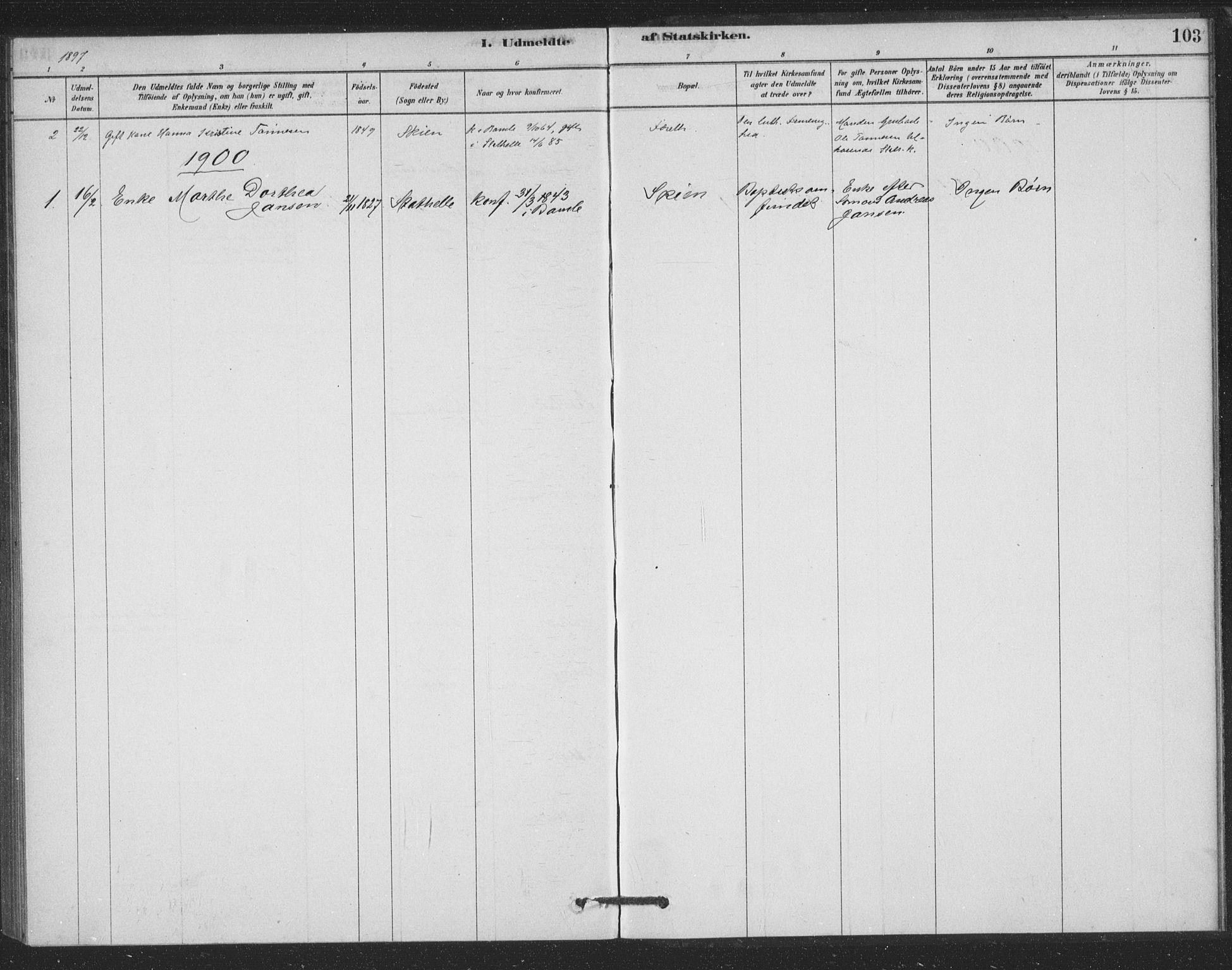 SAKO, Bamble kirkebøker, F/Fb/L0001: Ministerialbok nr. II 1, 1878-1899, s. 103