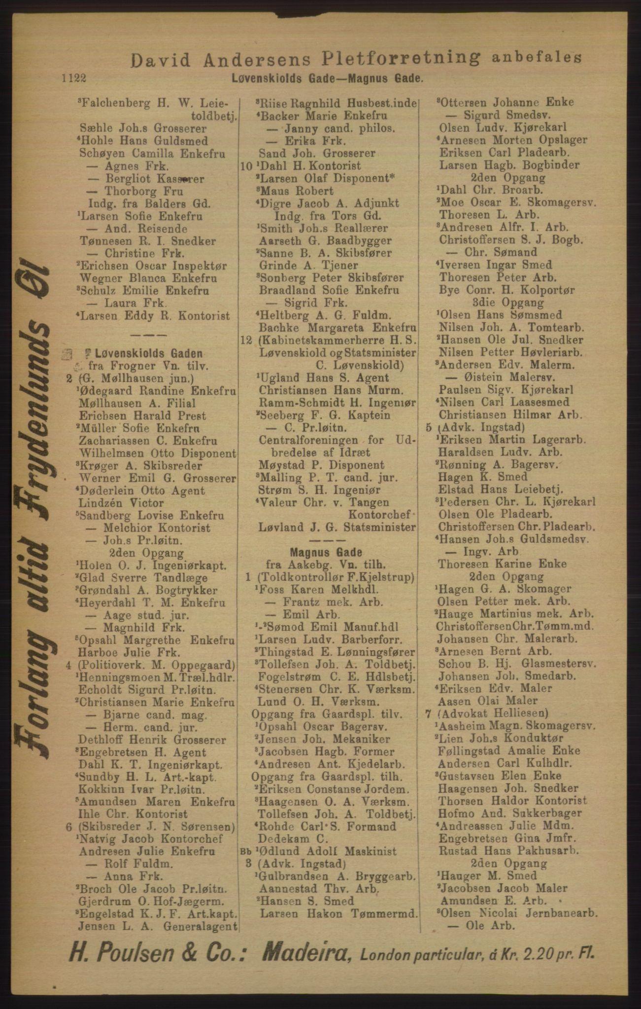 RA, Kristiania adressebok (publikasjon)*, 1906, s. 1122