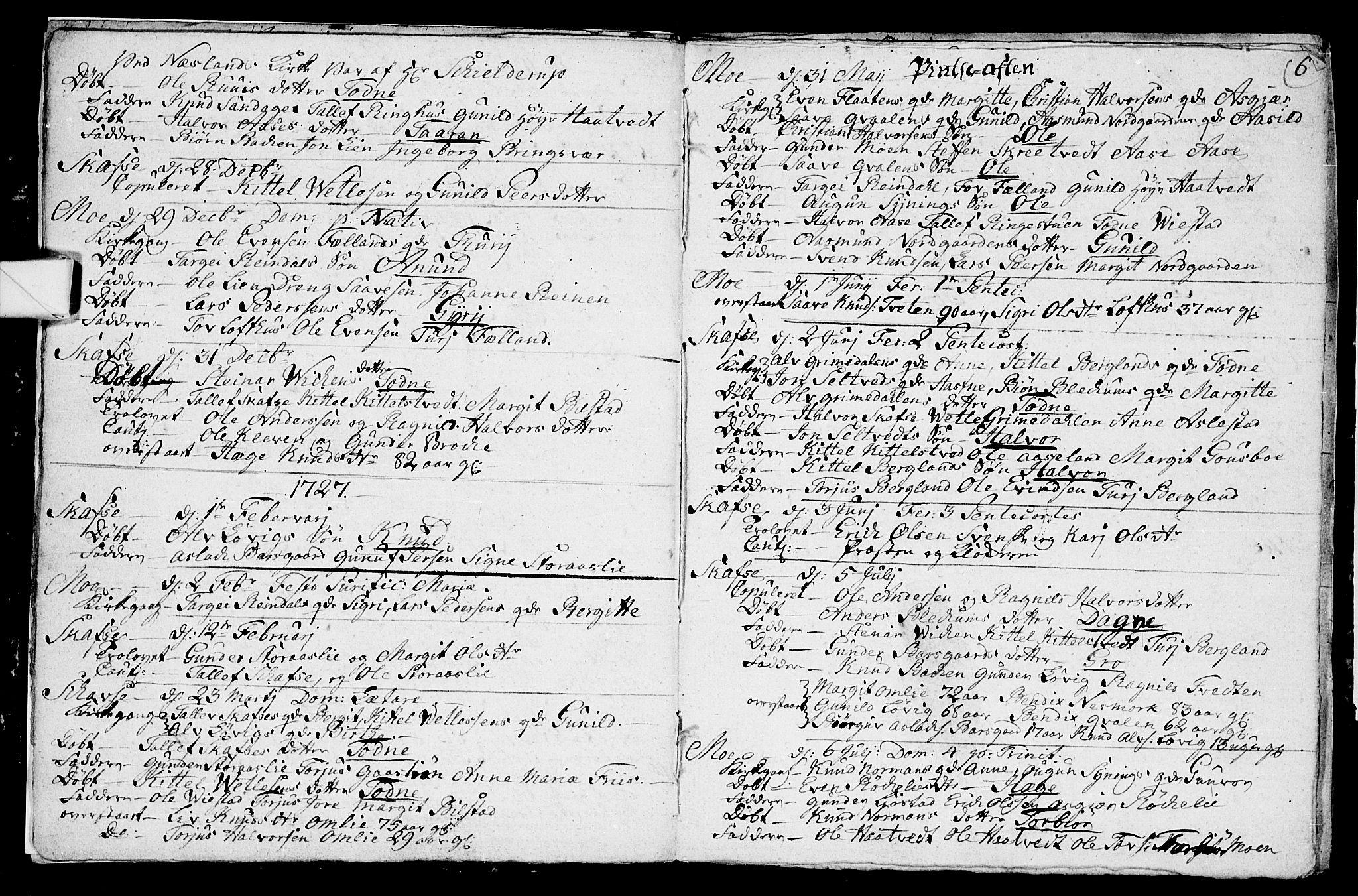 SAKO, Mo kirkebøker, F/Fa/L0001: Ministerialbok nr. I 1, 1724-1748, s. 6